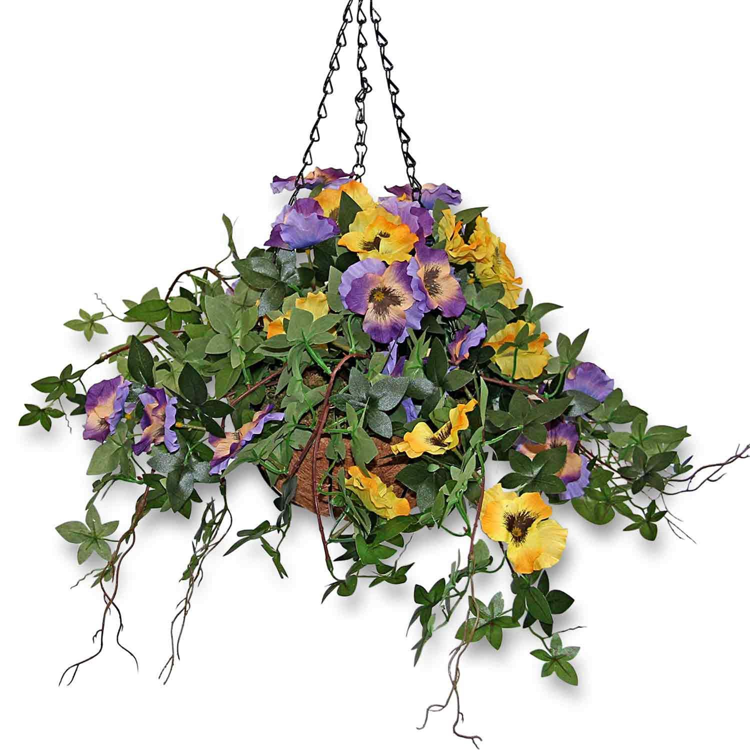 Artificial pansies trailing flowers hanging basket for indoor and artificial pansies trailing flowers hanging basket for indoor mightylinksfo