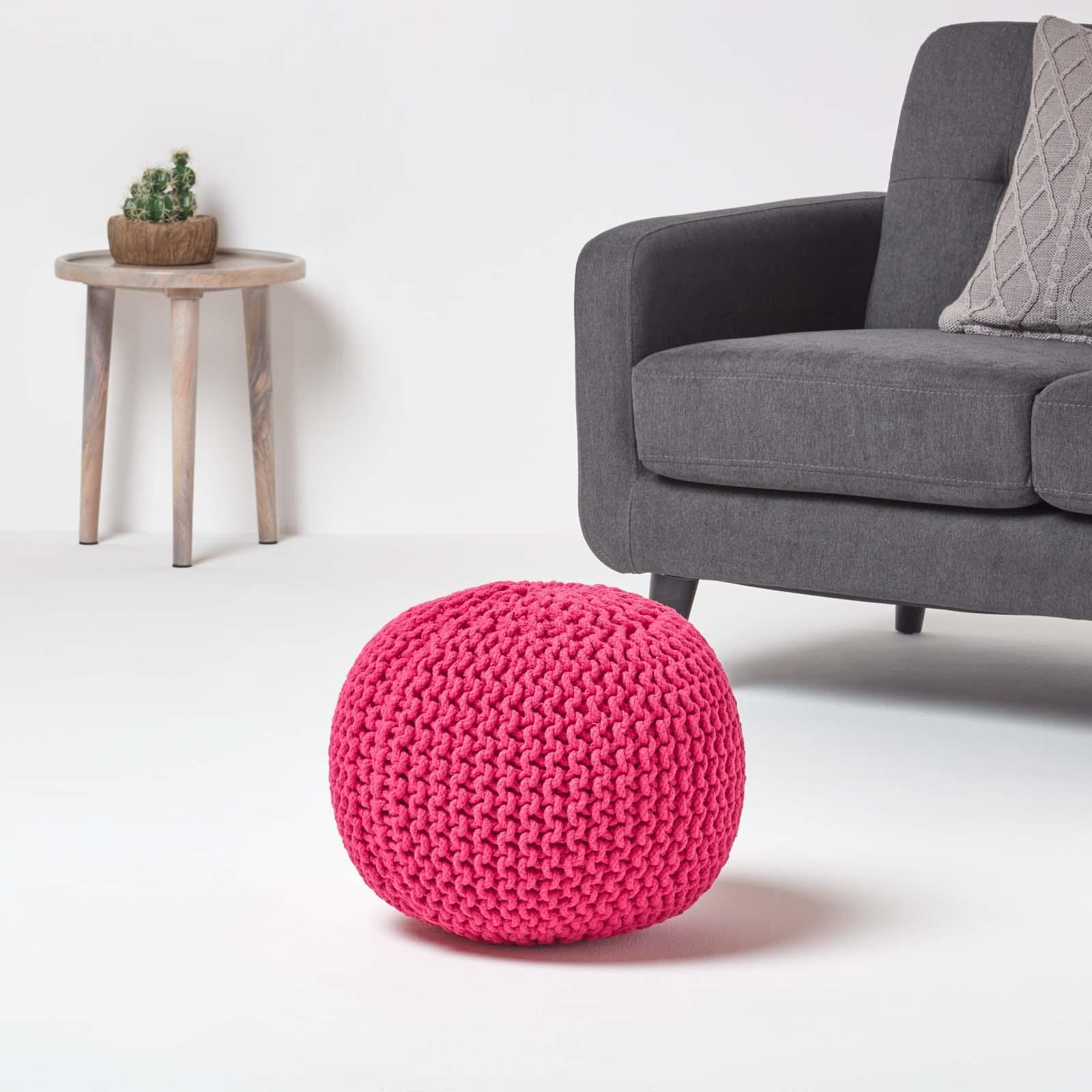Hand-Knitted-100-Cotton-Pouffes-Round-Sphere-Or-Cube-Square-Chunky-Footstools thumbnail 63