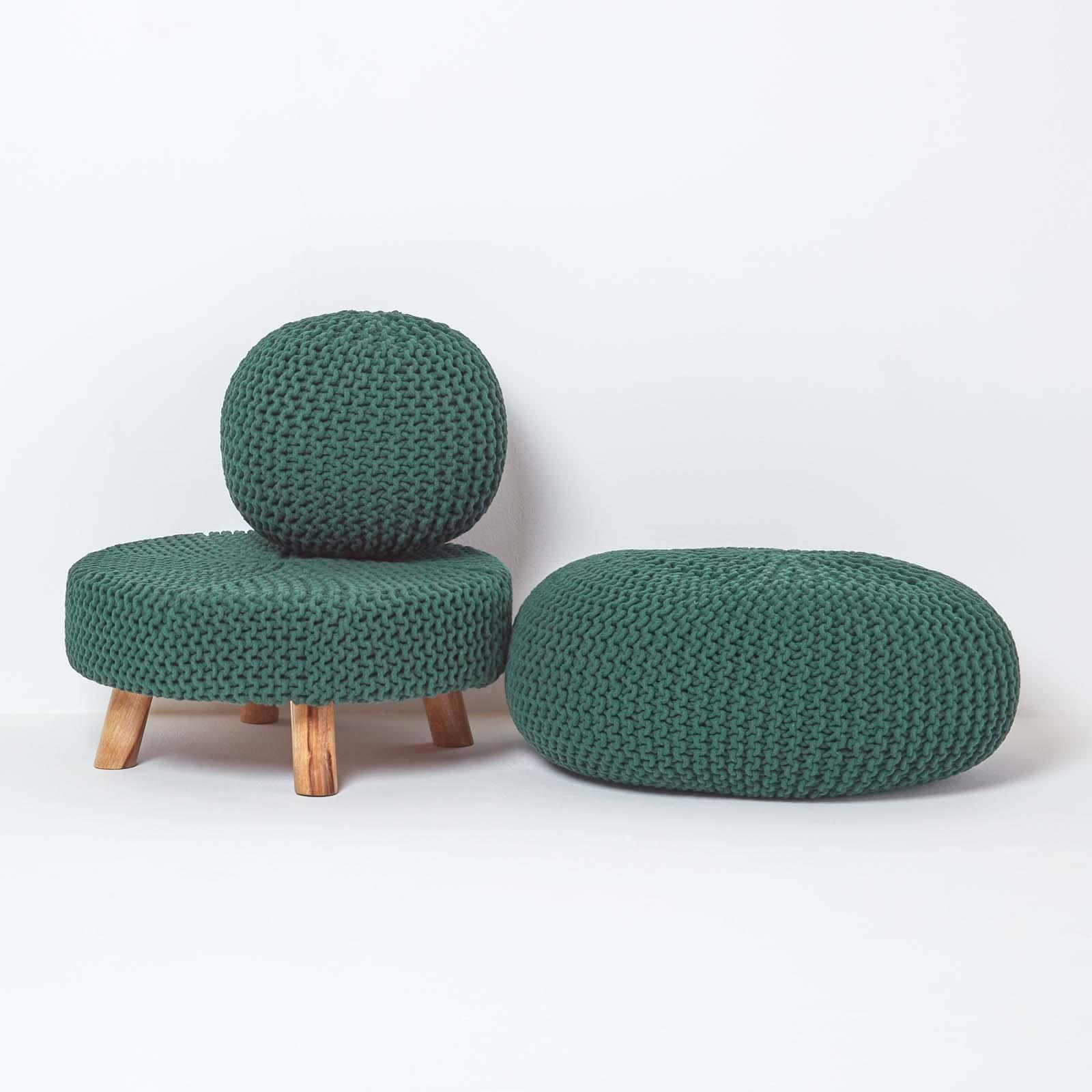 Hand-Knitted-100-Cotton-Pouffes-Round-Sphere-Or-Cube-Square-Chunky-Footstools thumbnail 47