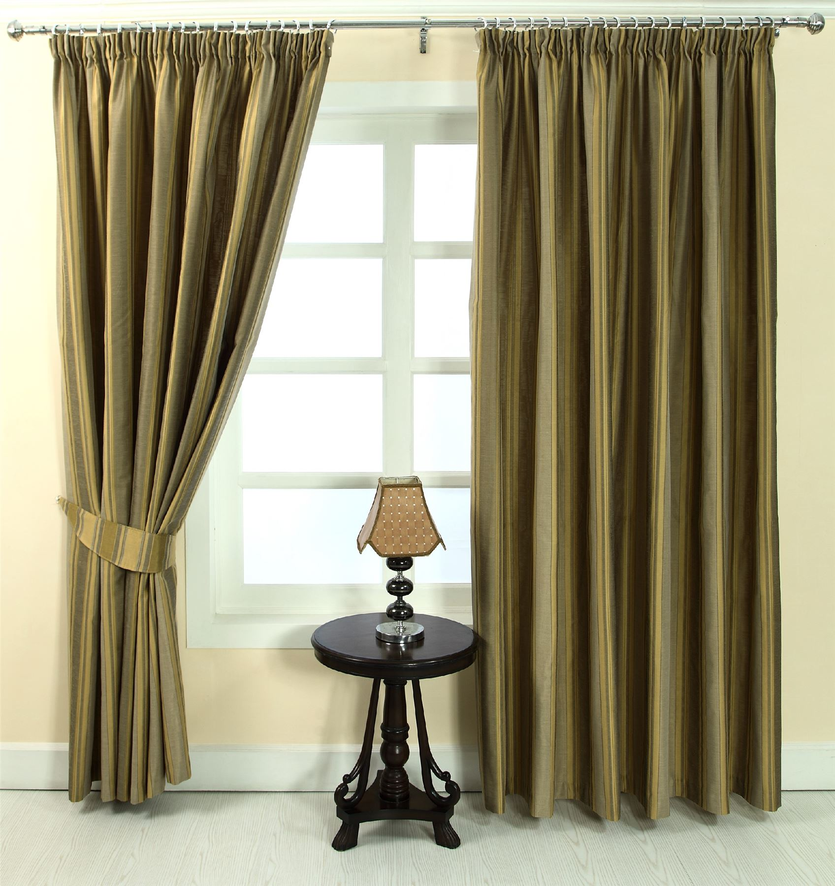 Pencil Pleat Fully Lined Jacquard Striped Curtains Blue