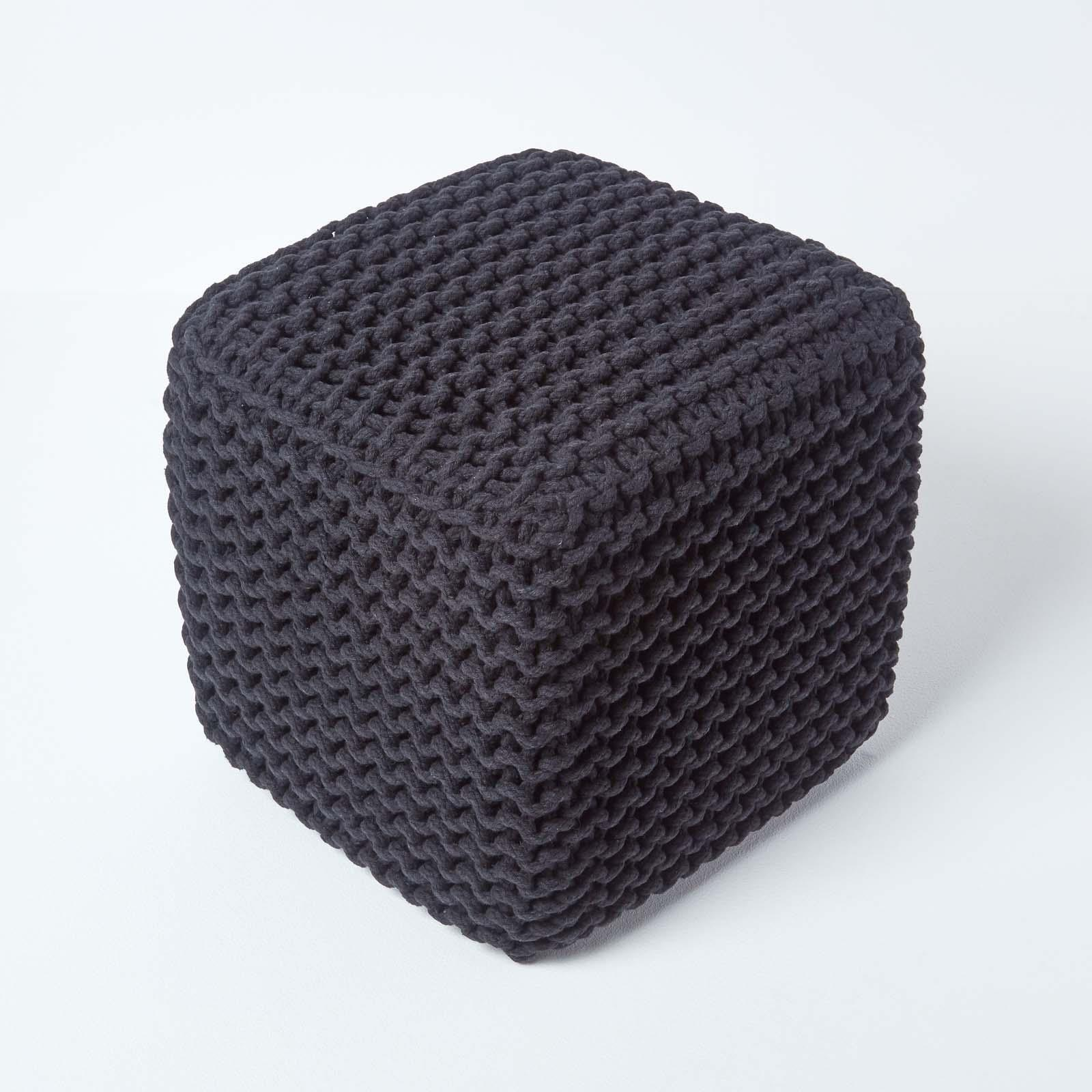 Hand-Knitted-100-Cotton-Pouffes-Round-Sphere-Or-Cube-Square-Chunky-Footstools thumbnail 11