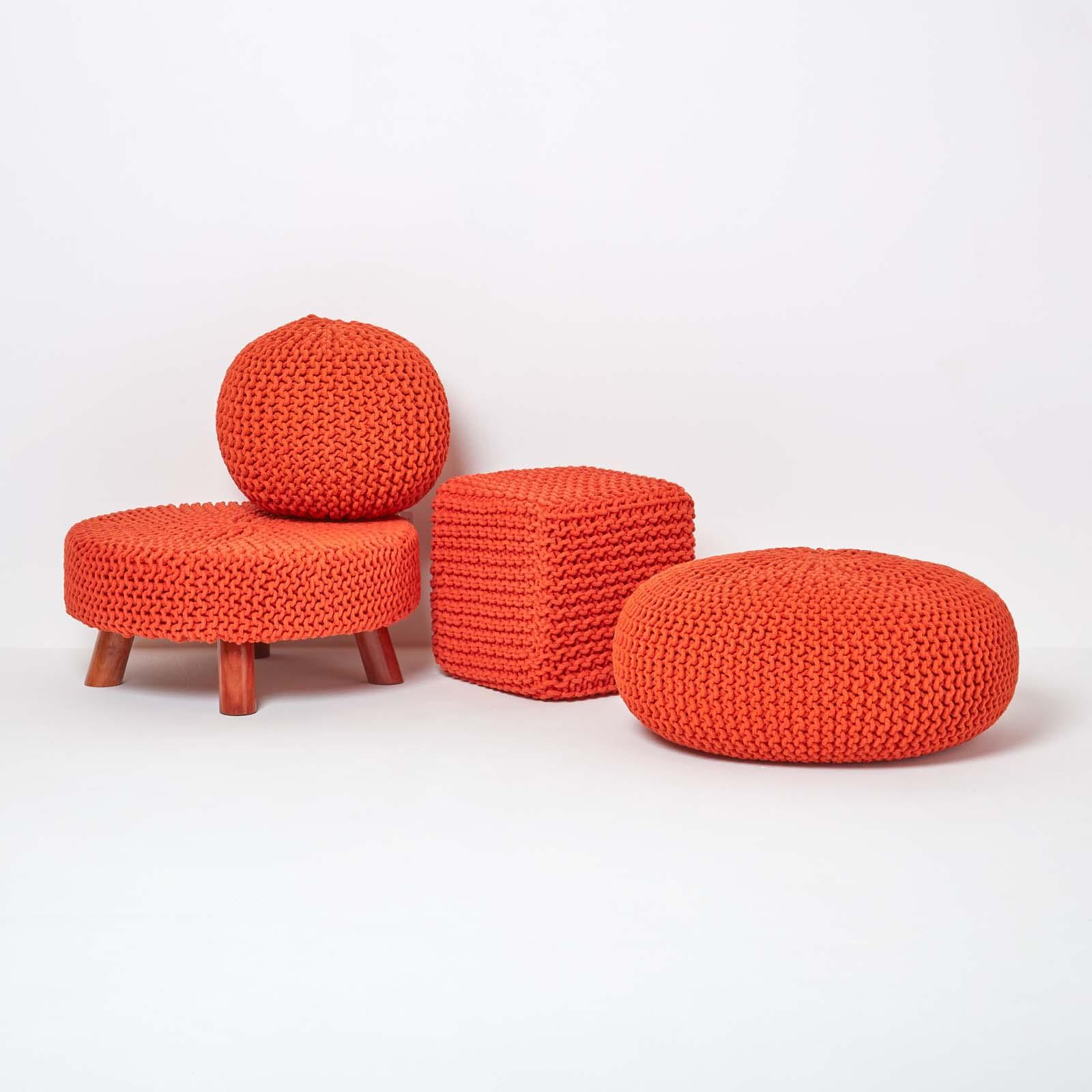 Hand-Knitted-100-Cotton-Pouffes-Round-Sphere-Or-Cube-Square-Chunky-Footstools thumbnail 120