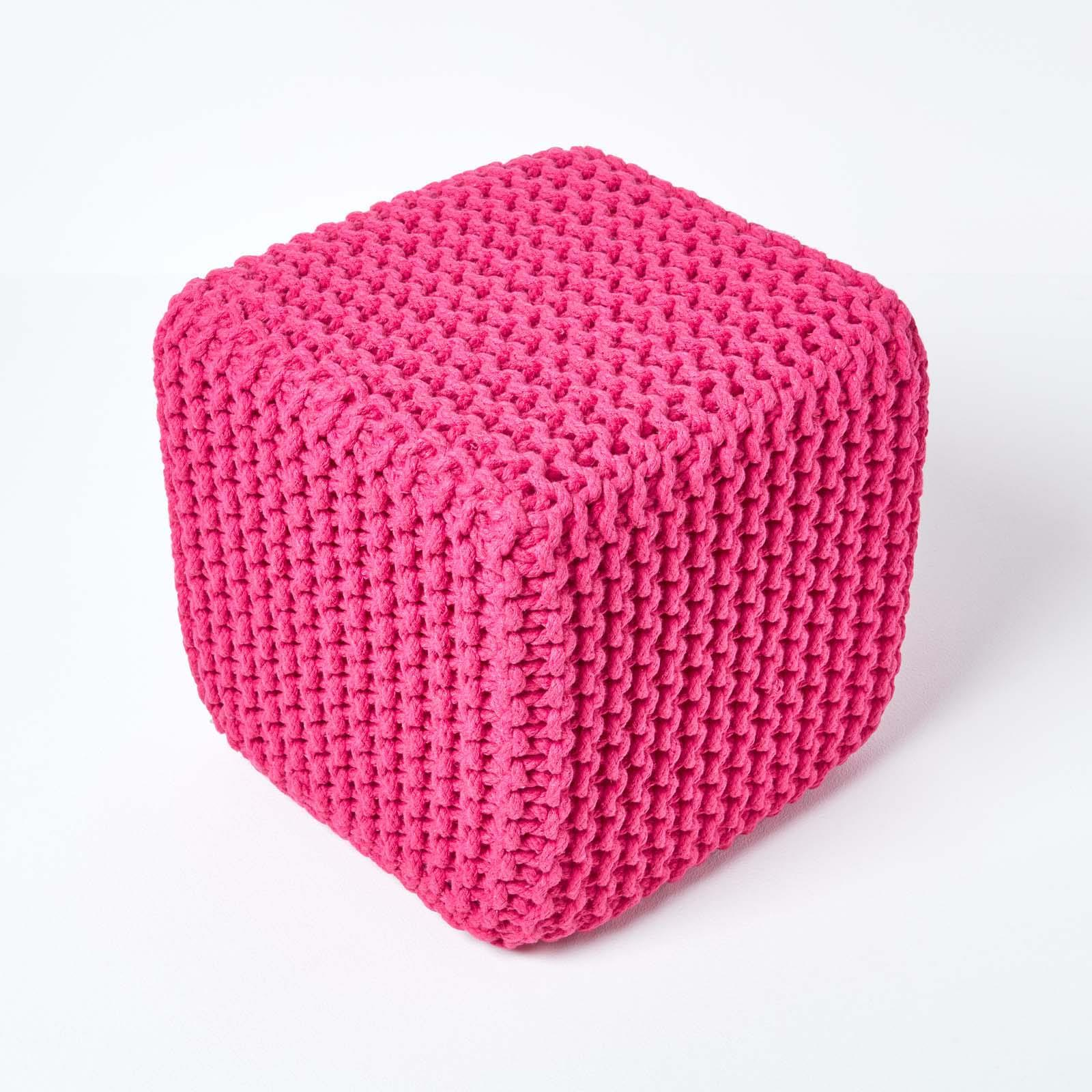 Hand-Knitted-100-Cotton-Pouffes-Round-Sphere-Or-Cube-Square-Chunky-Footstools thumbnail 69