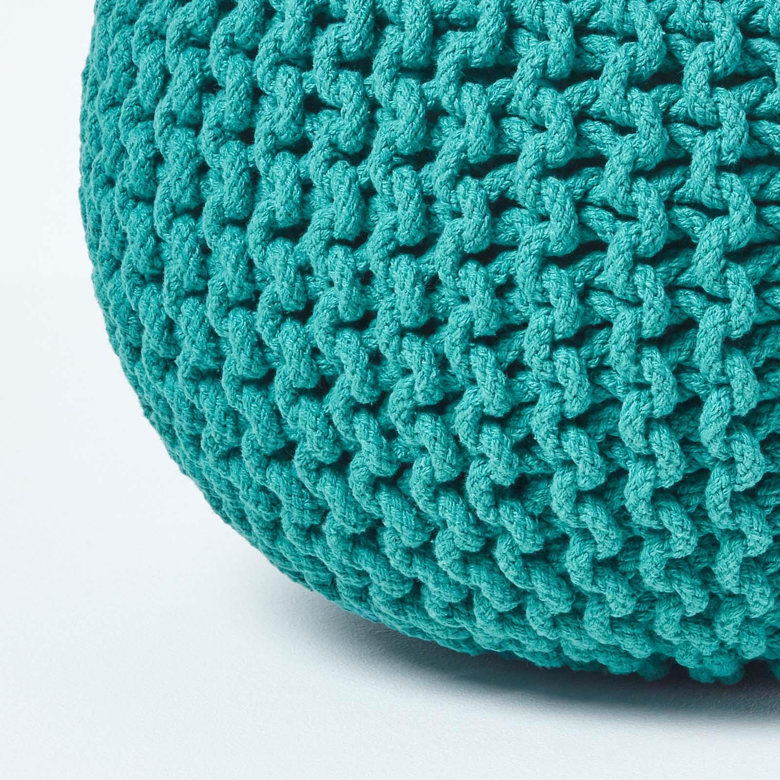 Hand-Knitted-100-Cotton-Pouffes-Round-Sphere-Or-Cube-Square-Chunky-Footstools thumbnail 196