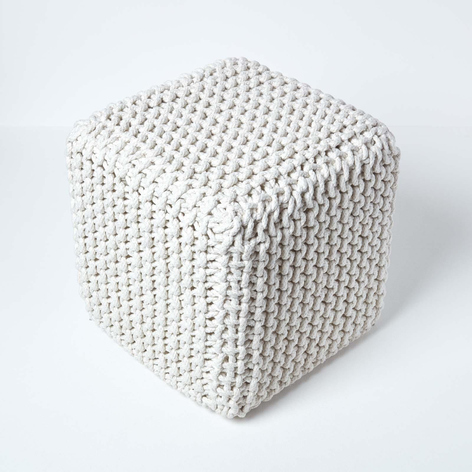 Hand-Knitted-100-Cotton-Pouffes-Round-Sphere-Or-Cube-Square-Chunky-Footstools thumbnail 93