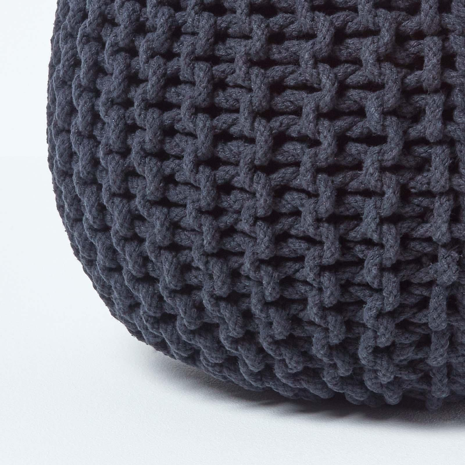 Hand-Knitted-100-Cotton-Pouffes-Round-Sphere-Or-Cube-Square-Chunky-Footstools thumbnail 7