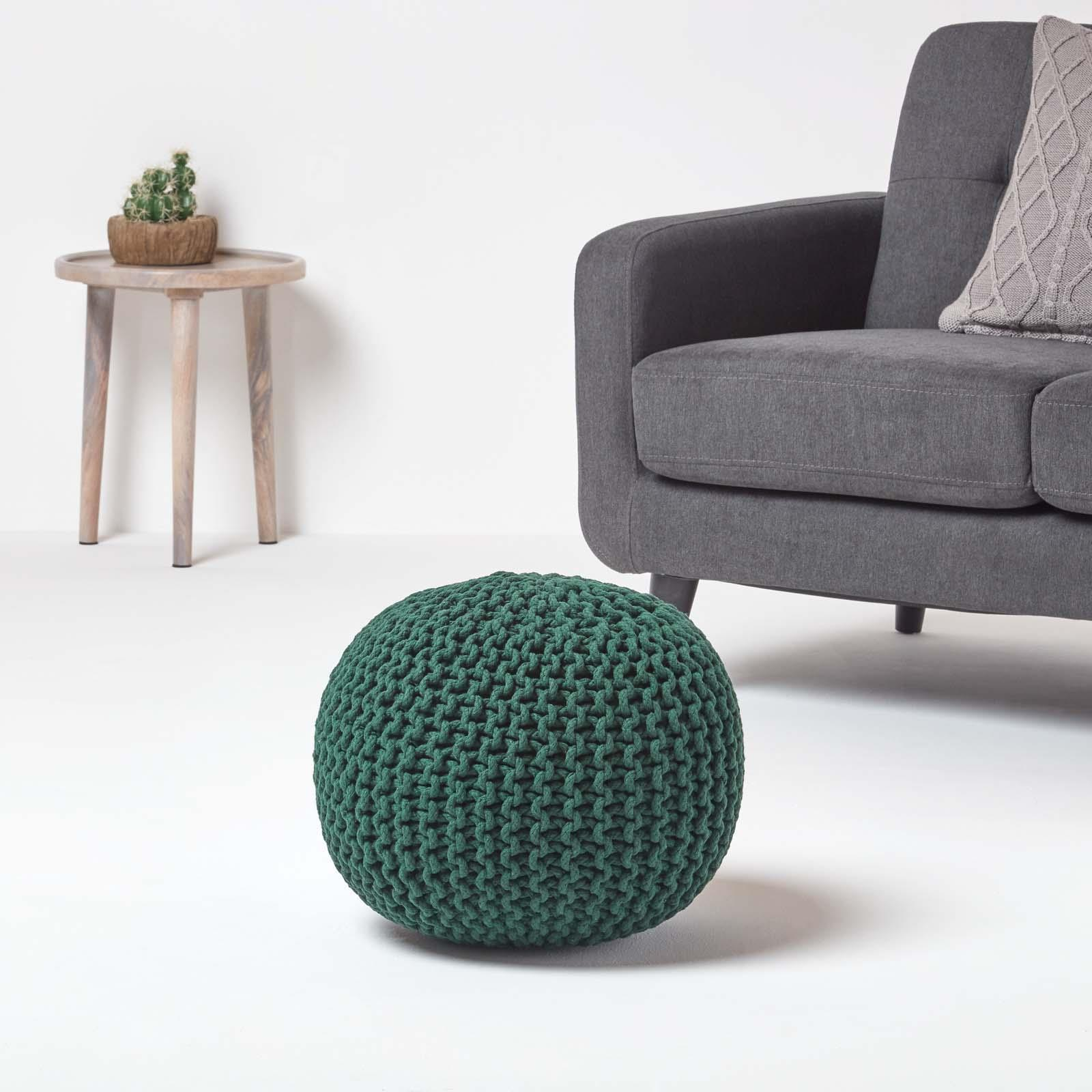 Hand-Knitted-100-Cotton-Pouffes-Round-Sphere-Or-Cube-Square-Chunky-Footstools thumbnail 45
