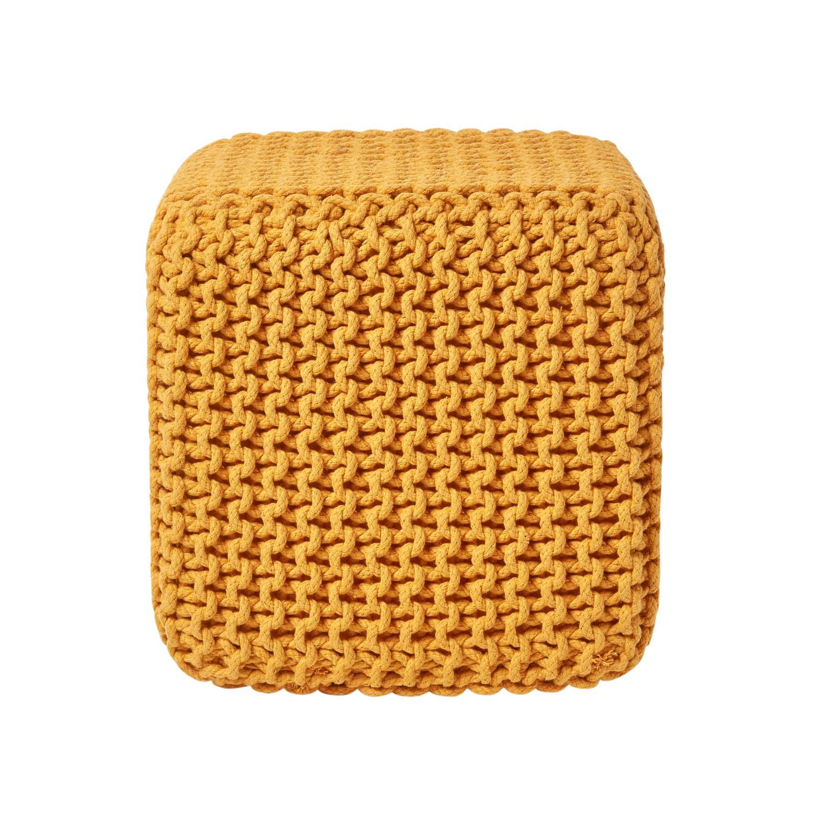 Hand-Knitted-100-Cotton-Pouffes-Round-Sphere-Or-Cube-Square-Chunky-Footstools thumbnail 86
