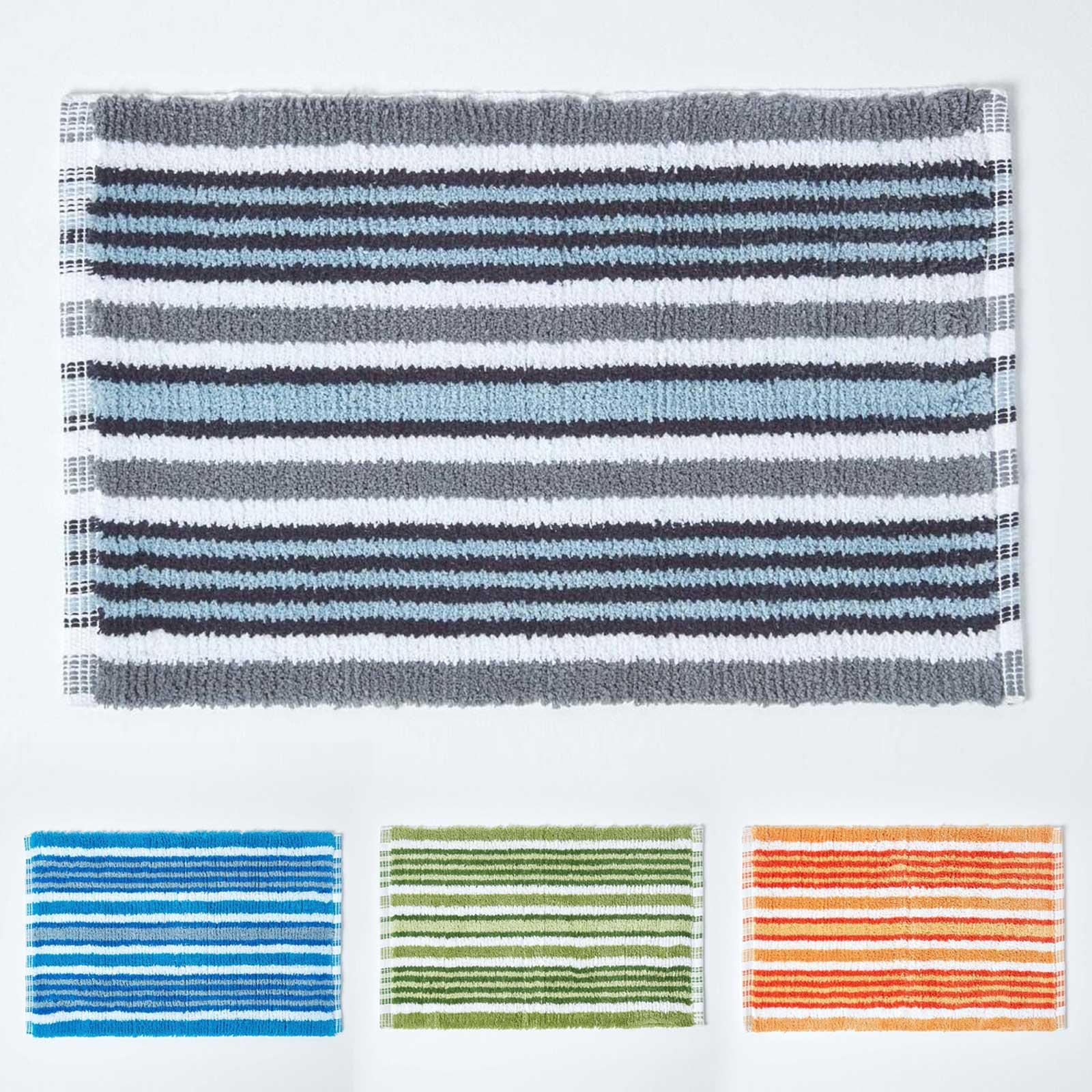 Cotton Striped Bath Mat Non Slip Blue Orange Green Black White Bathroom Mats Ebay