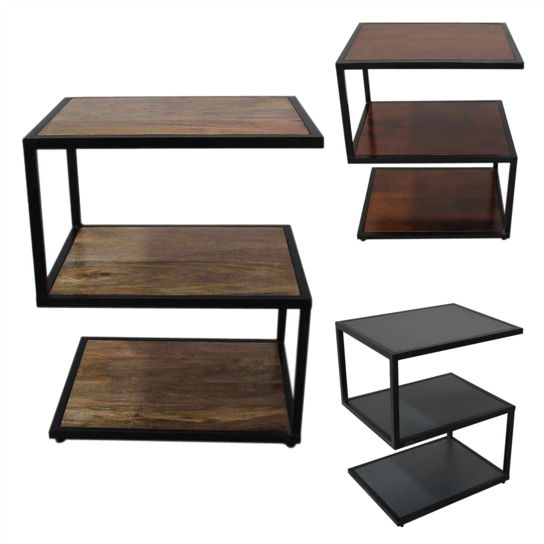 Details About Dakota S Shape Side Table Mango Wood Natural Grey Dark Shade With Metal Frame