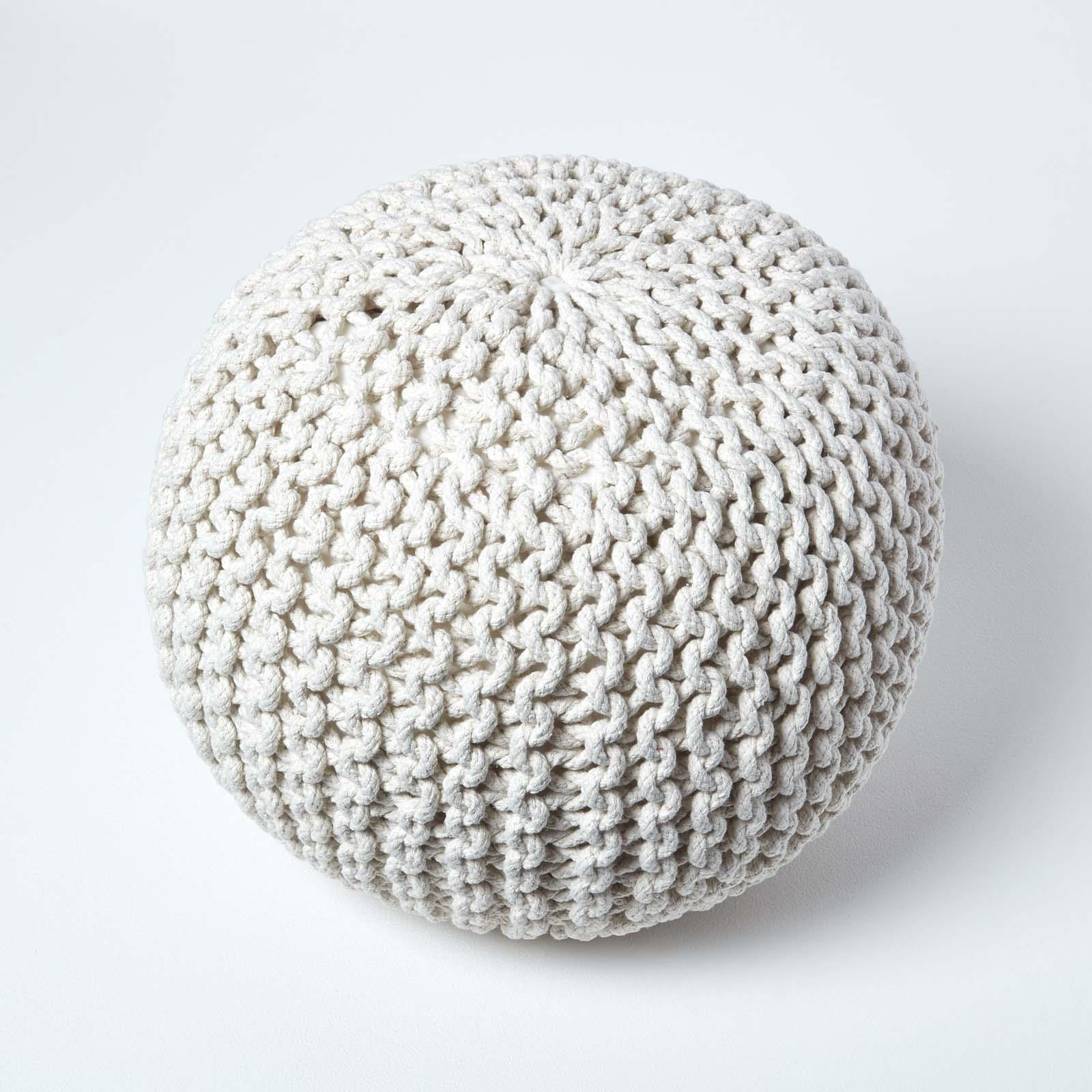 Hand-Knitted-100-Cotton-Pouffes-Round-Sphere-Or-Cube-Square-Chunky-Footstools thumbnail 99