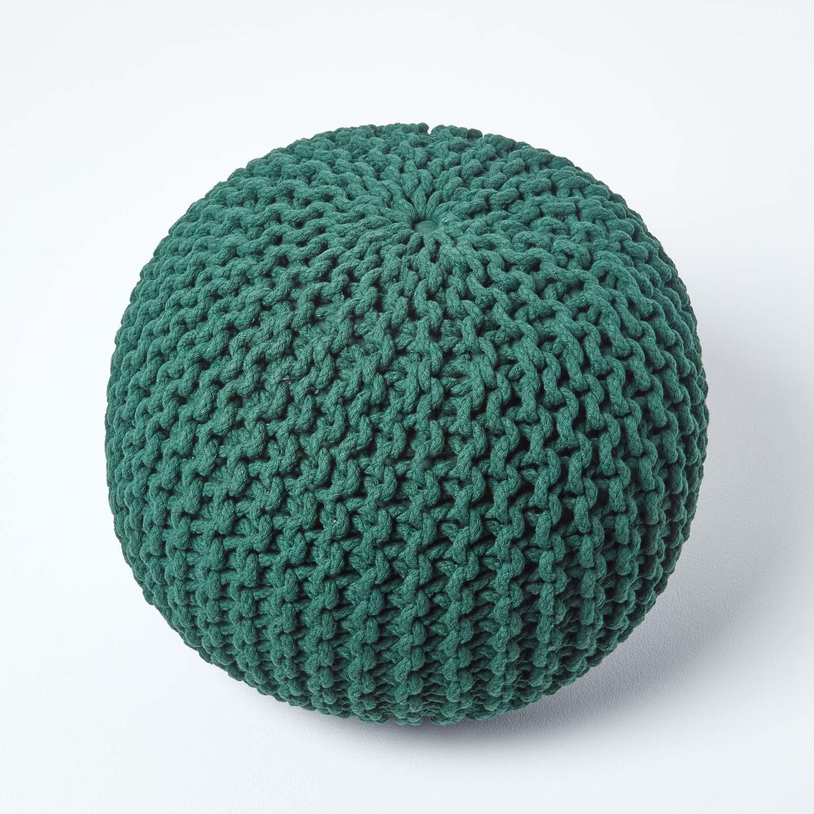 Hand-Knitted-100-Cotton-Pouffes-Round-Sphere-Or-Cube-Square-Chunky-Footstools thumbnail 48