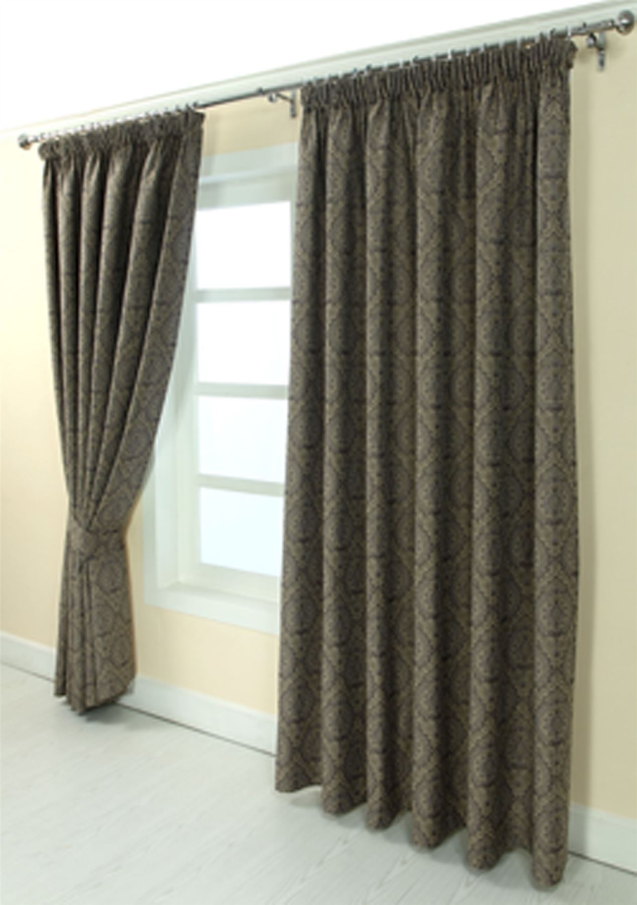 Floral Pencil Pleat Fully Lined Jacquard Damask Curtains Blue Gold ...