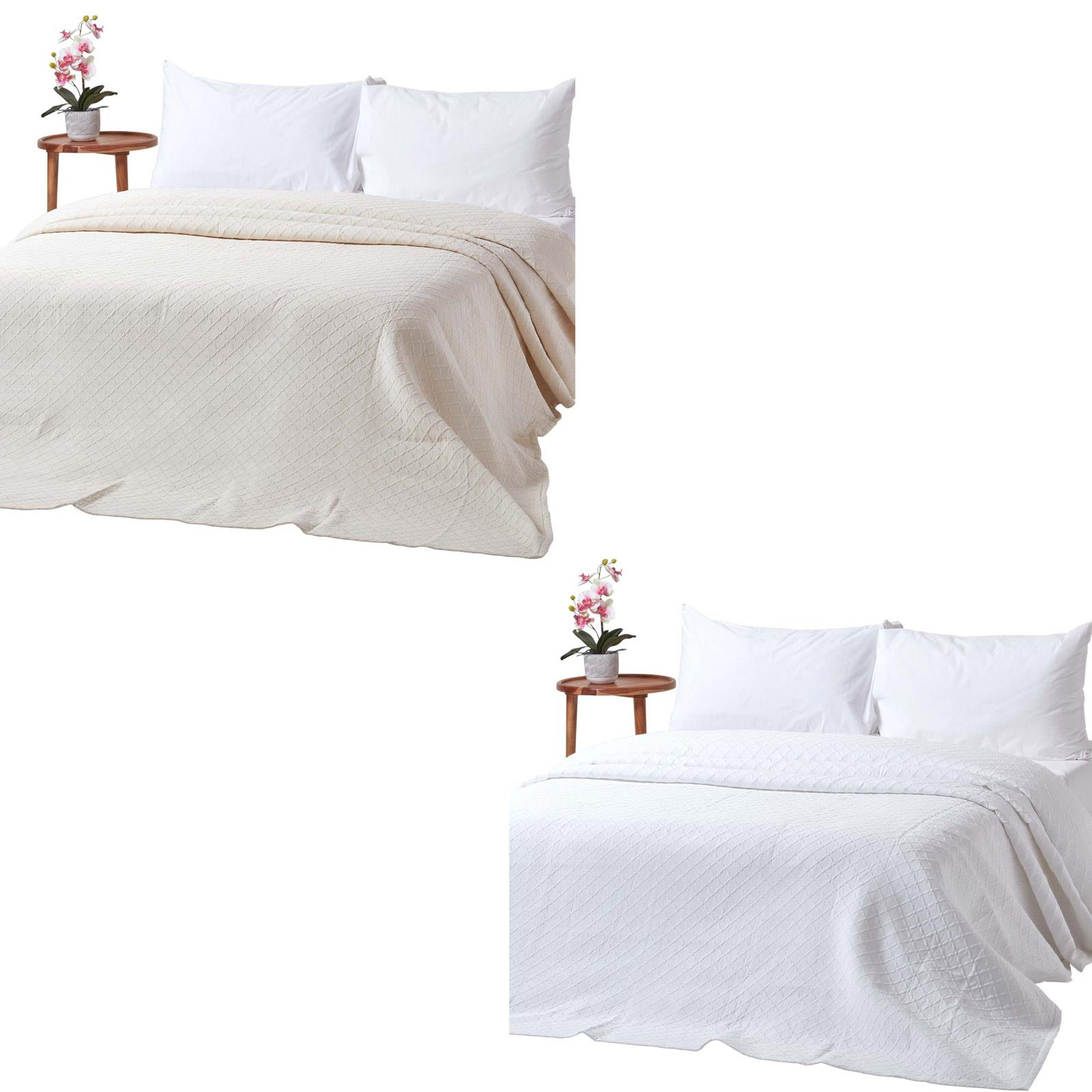 Cotton Bedspreads Cream And White Contemporary Diamond Pattern Matelasse Throws Ebay