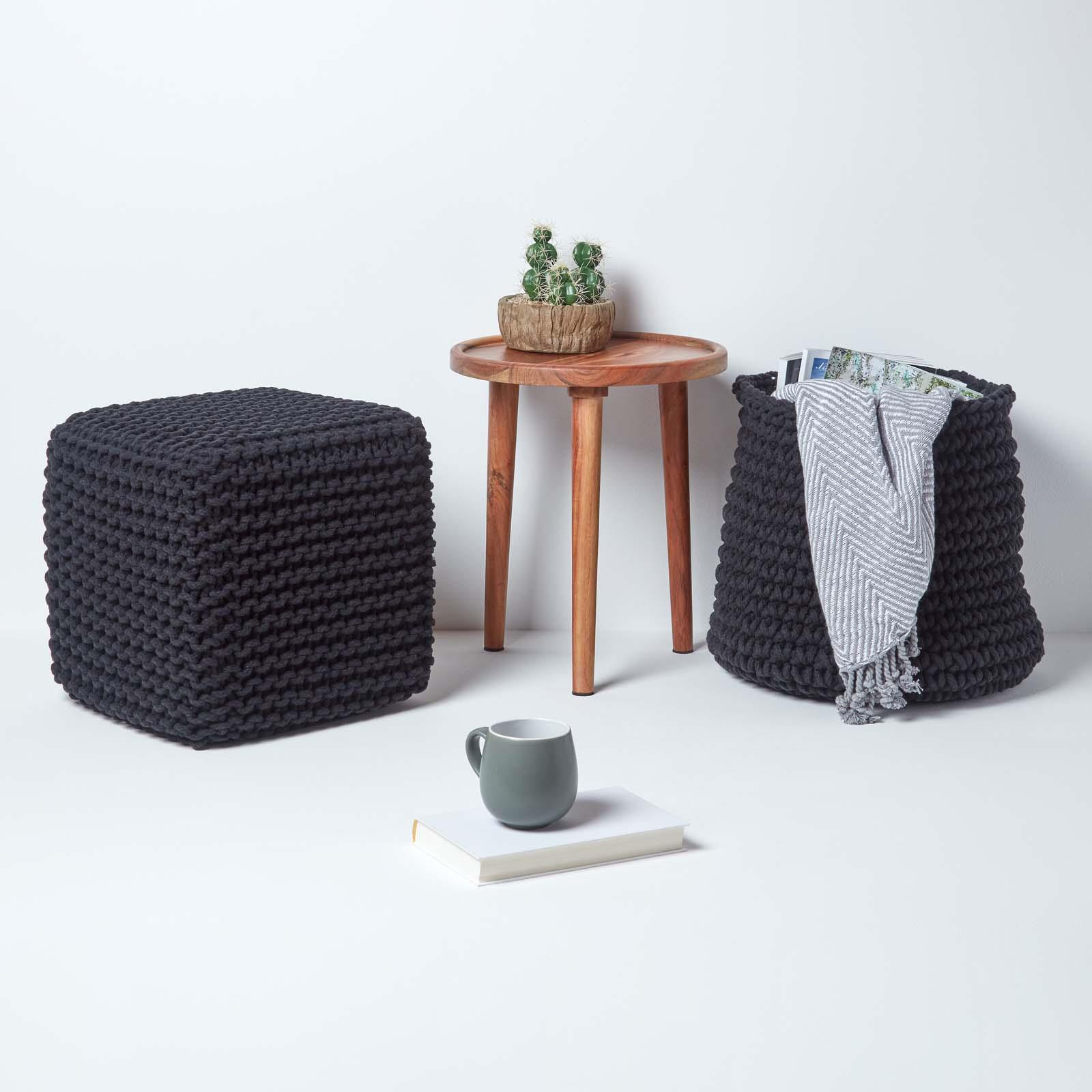 Hand-Knitted-100-Cotton-Pouffes-Round-Sphere-Or-Cube-Square-Chunky-Footstools thumbnail 14