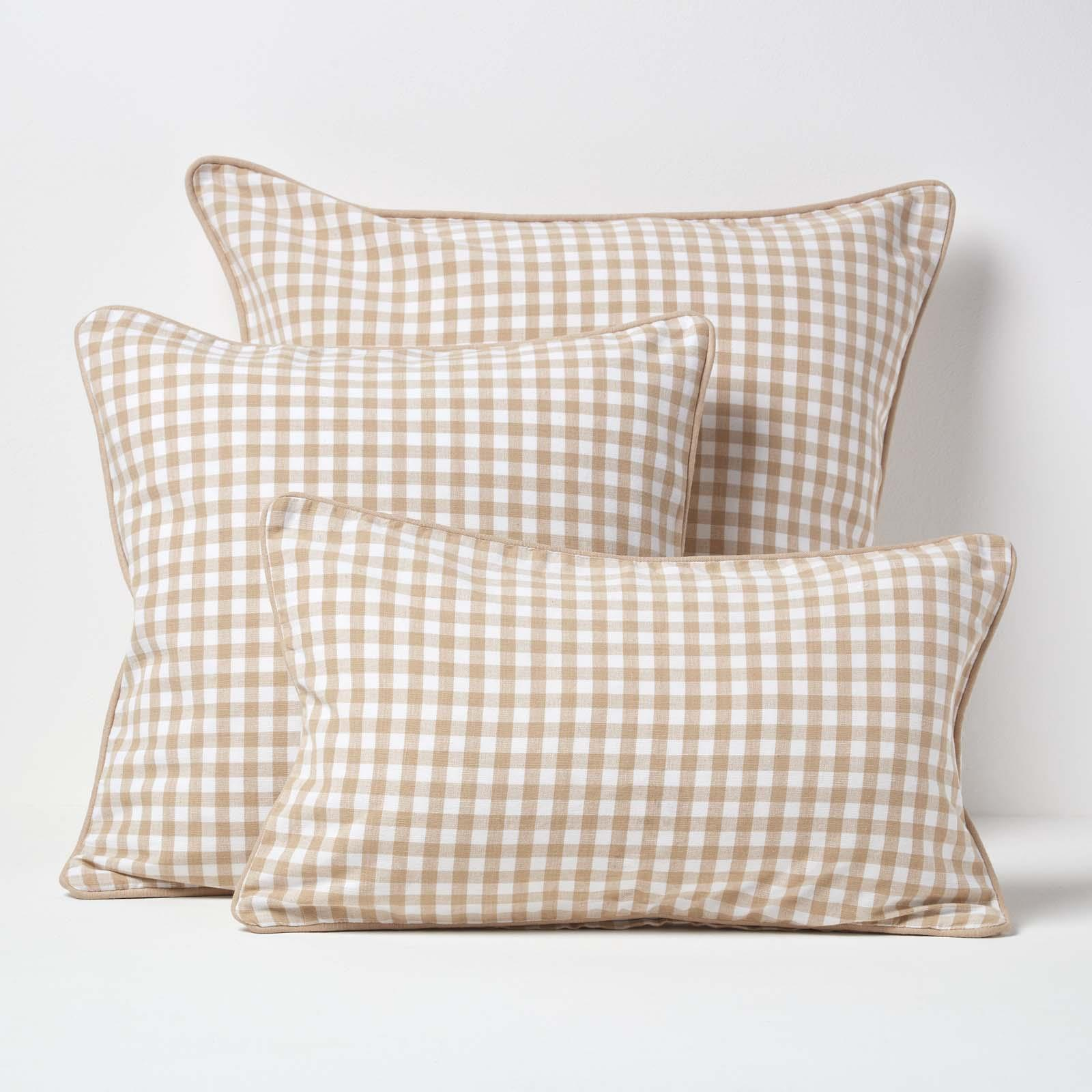 100 Cotton Gingham Check Cushion Cover Square Rectangular Sofa Pillow Case Ebay