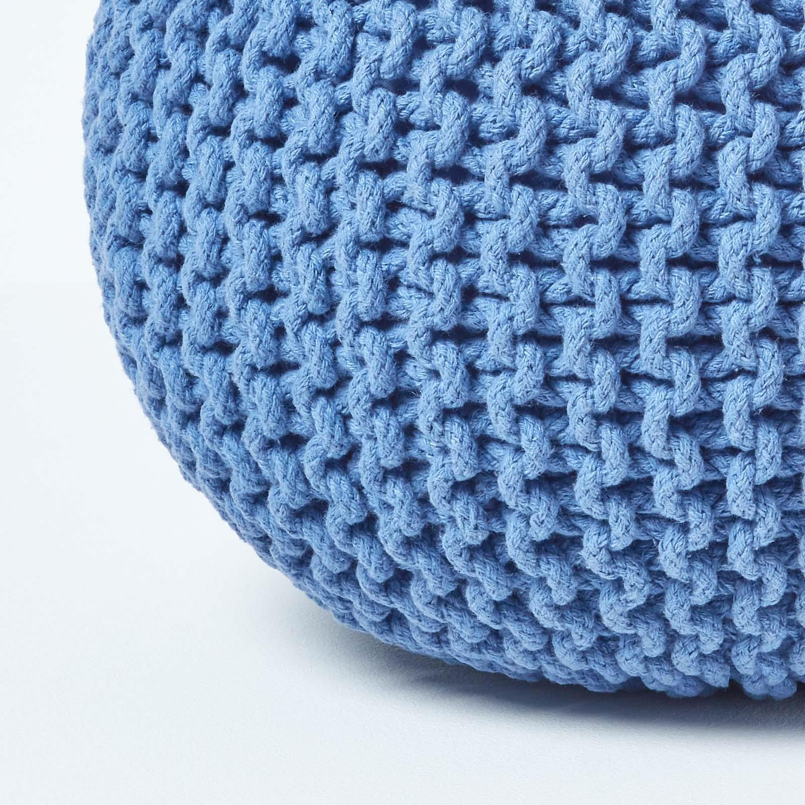 Hand-Knitted-100-Cotton-Pouffes-Round-Sphere-Or-Cube-Square-Chunky-Footstools thumbnail 19