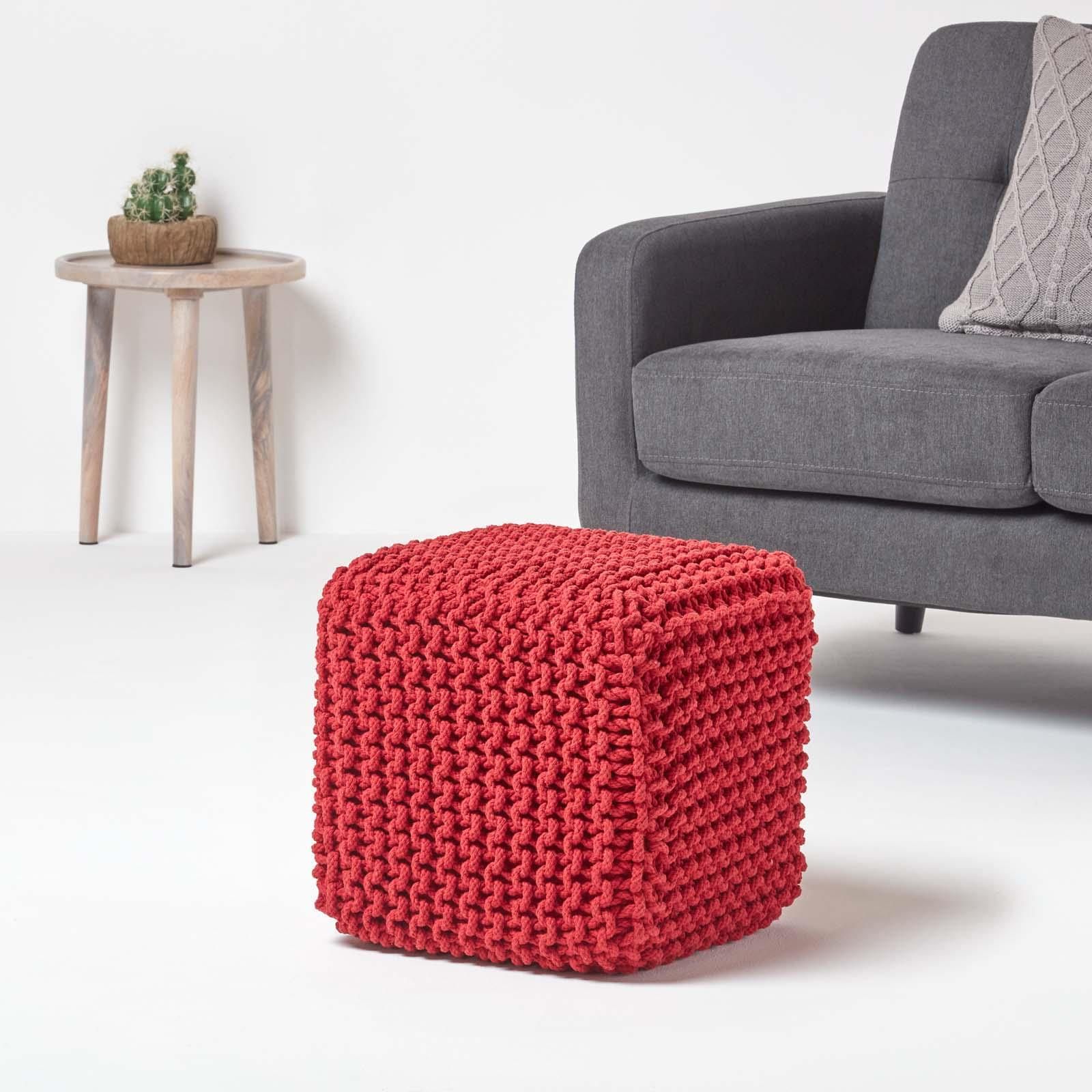 Hand-Knitted-100-Cotton-Pouffes-Round-Sphere-Or-Cube-Square-Chunky-Footstools thumbnail 176