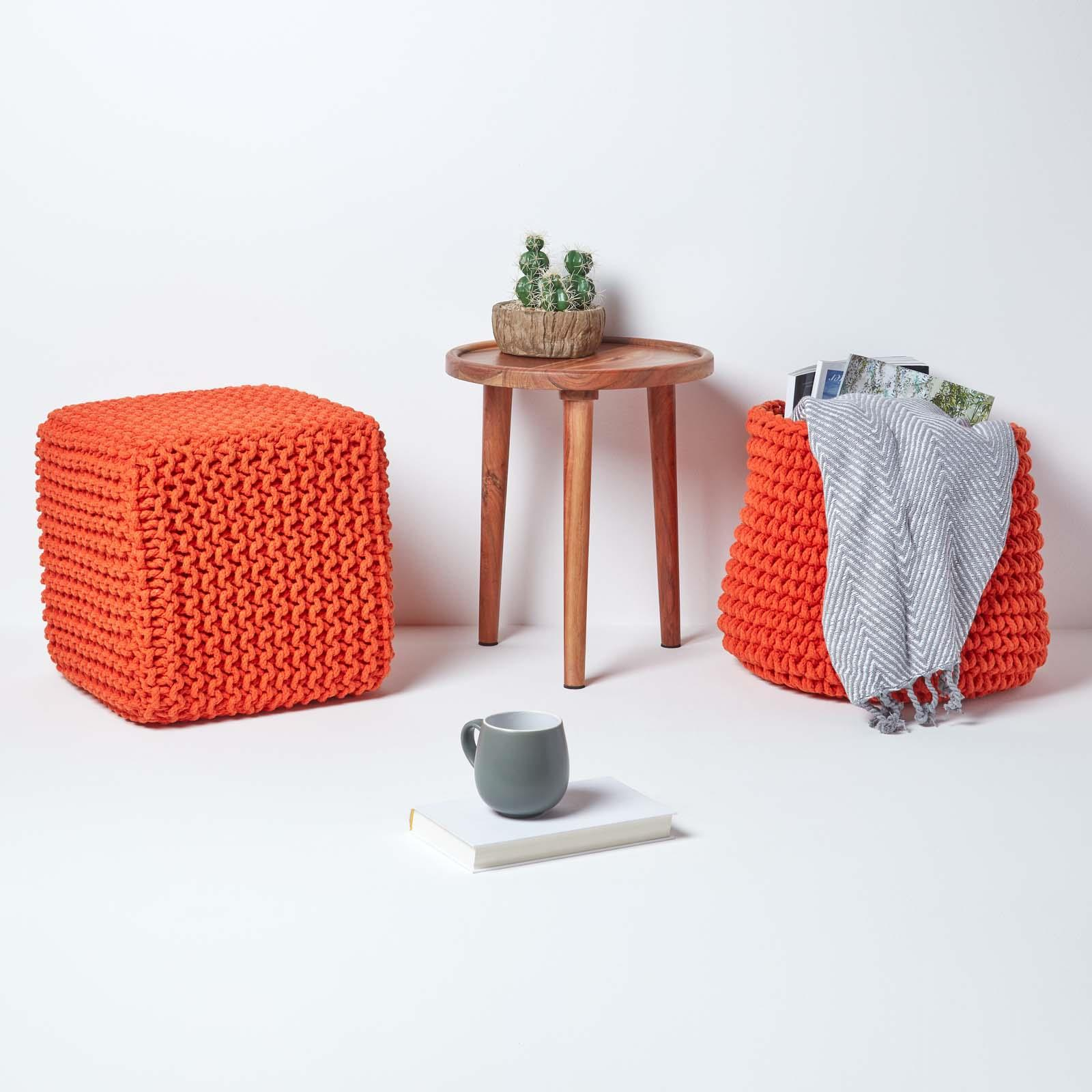 Hand-Knitted-100-Cotton-Pouffes-Round-Sphere-Or-Cube-Square-Chunky-Footstools thumbnail 126