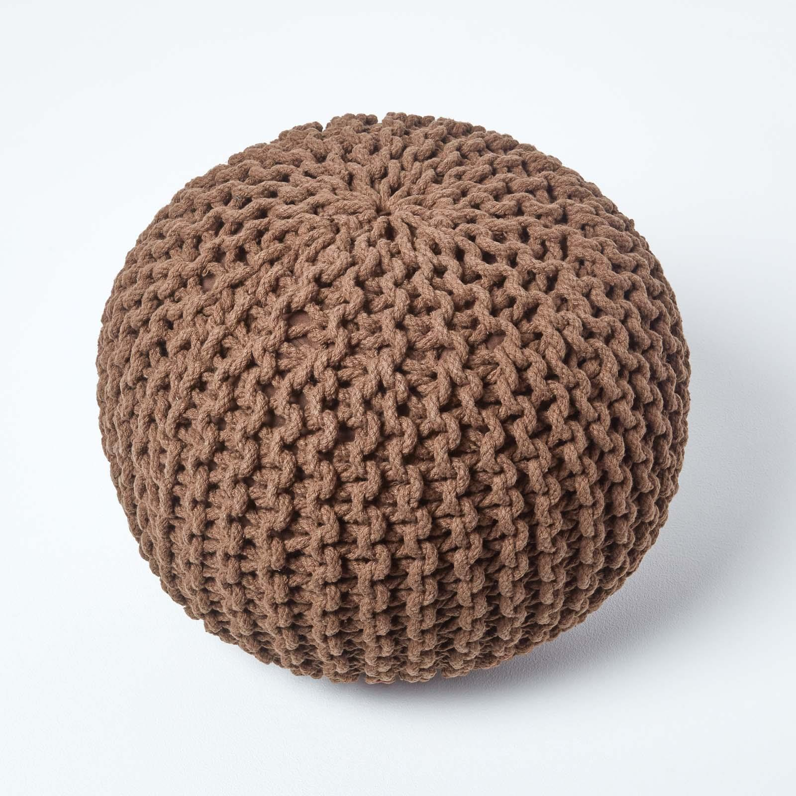 Hand-Knitted-100-Cotton-Pouffes-Round-Sphere-Or-Cube-Square-Chunky-Footstools thumbnail 35