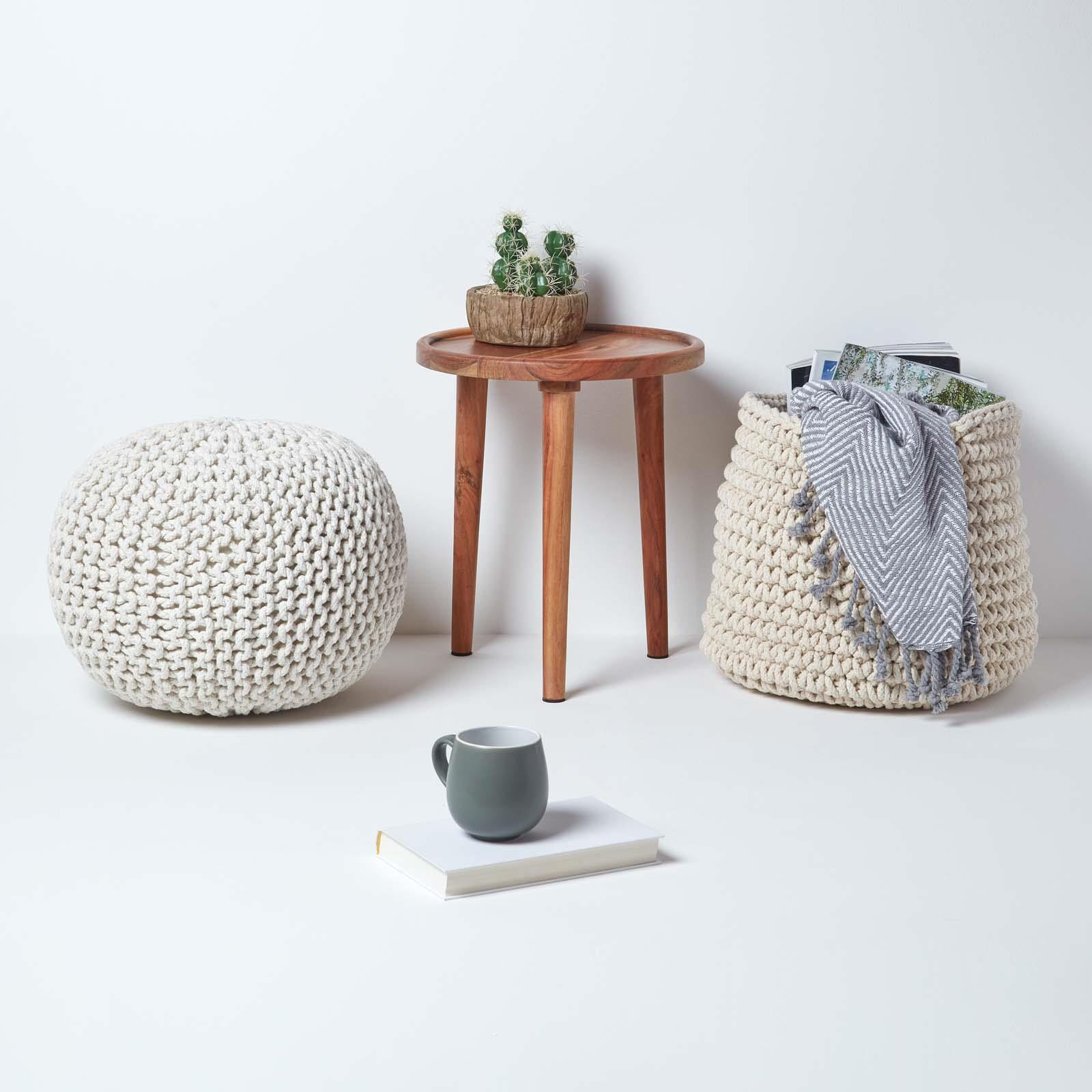 Hand-Knitted-100-Cotton-Pouffes-Round-Sphere-Or-Cube-Square-Chunky-Footstools thumbnail 102