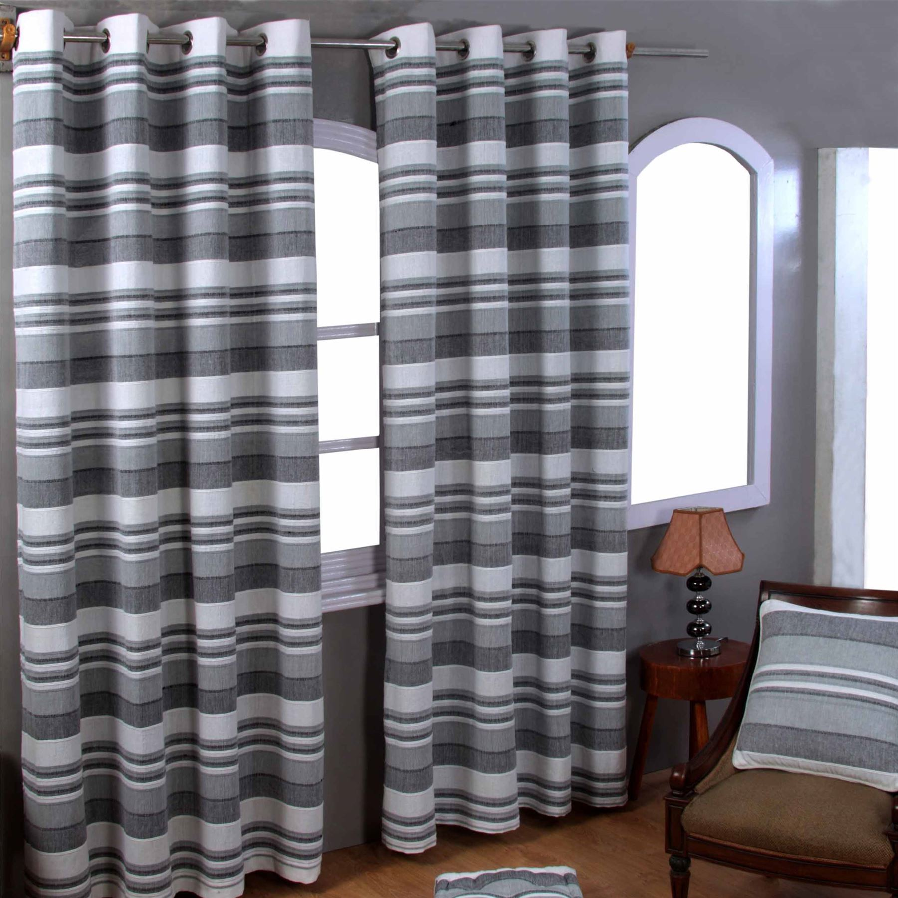Morocco Cotton Ribbed Striped Curtains Ready Made 9