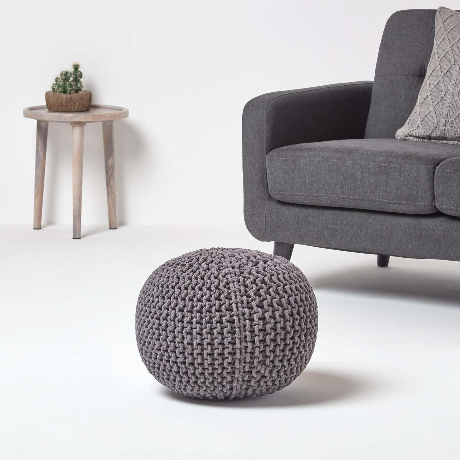 Hand-Knitted-100-Cotton-Pouffes-Round-Sphere-Or-Cube-Square-Chunky-Footstools thumbnail 57
