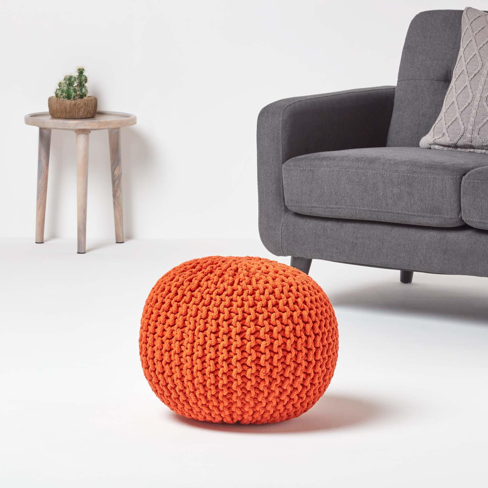 Hand-Knitted-100-Cotton-Pouffes-Round-Sphere-Or-Cube-Square-Chunky-Footstools thumbnail 117