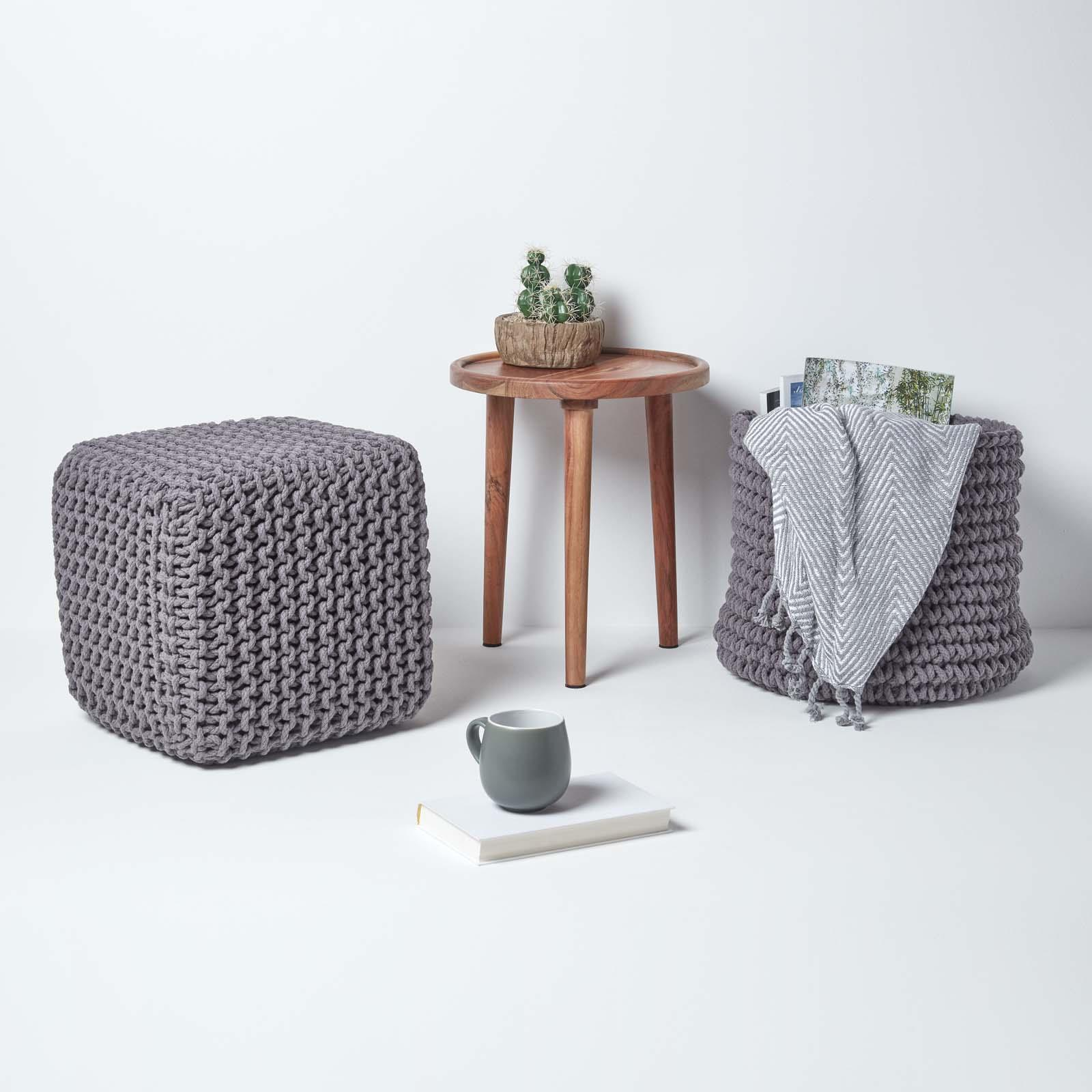 Hand-Knitted-100-Cotton-Pouffes-Round-Sphere-Or-Cube-Square-Chunky-Footstools thumbnail 56