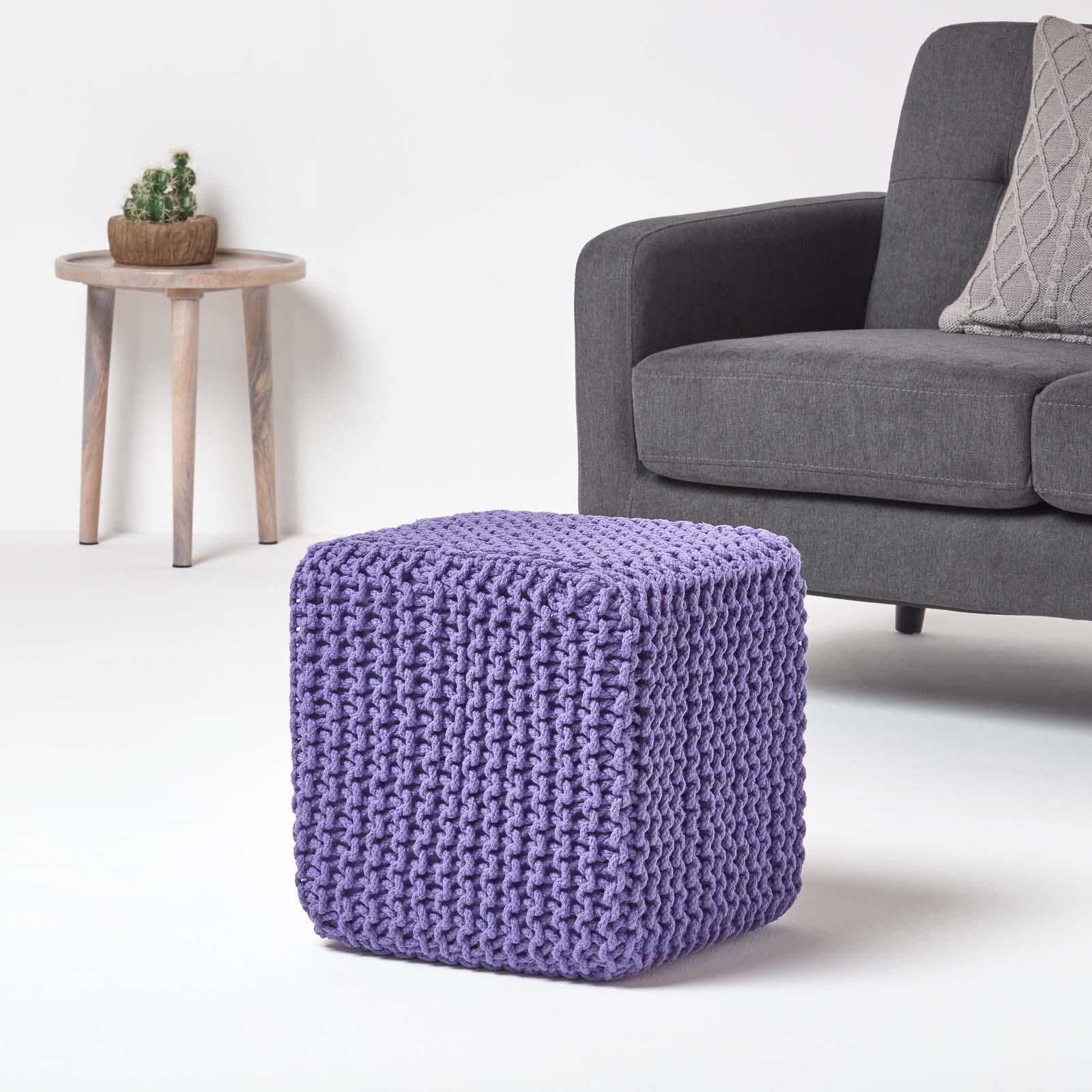 Hand-Knitted-100-Cotton-Pouffes-Round-Sphere-Or-Cube-Square-Chunky-Footstools thumbnail 165