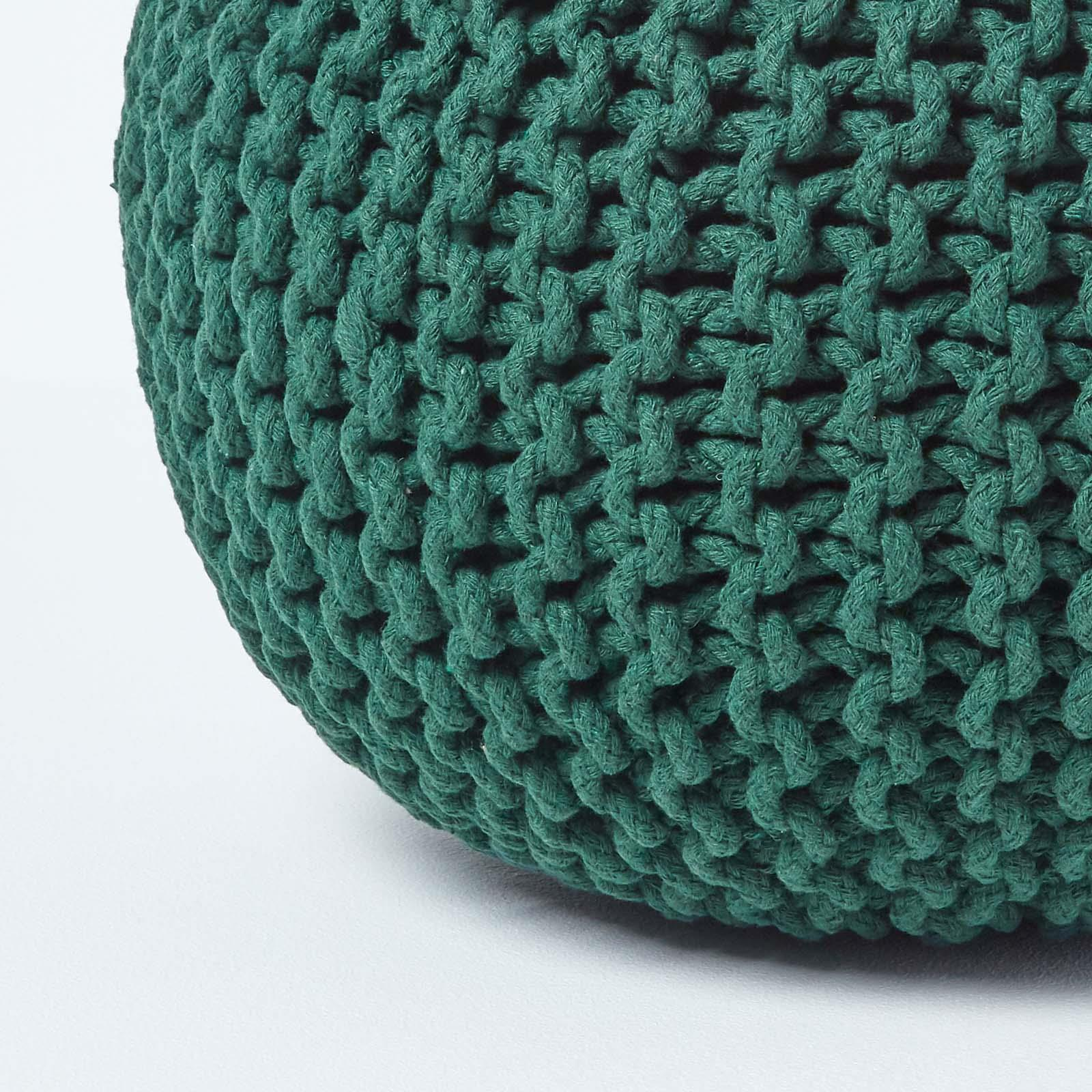 Hand-Knitted-100-Cotton-Pouffes-Round-Sphere-Or-Cube-Square-Chunky-Footstools thumbnail 46