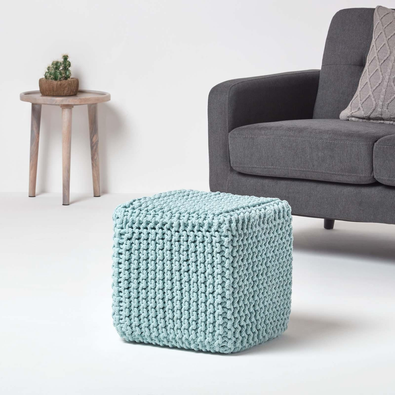 Hand-Knitted-100-Cotton-Pouffes-Round-Sphere-Or-Cube-Square-Chunky-Footstools thumbnail 134