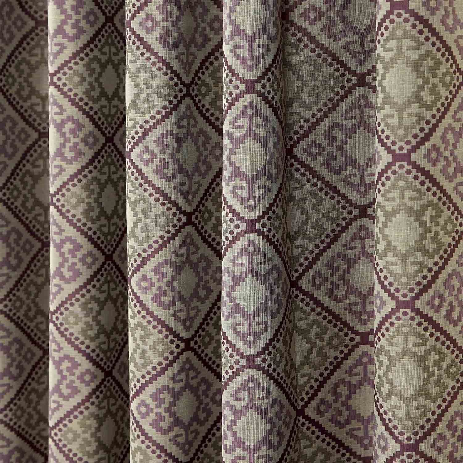 Pencil Pleat Jacquard Ready Made Curtains Abstract Aztec Design Case Boxes 6116