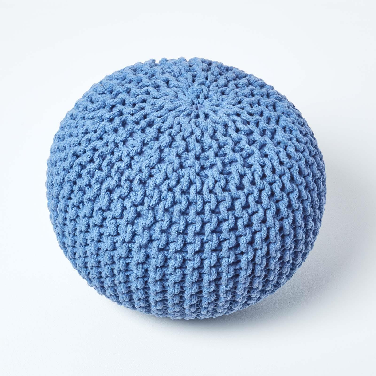 Hand-Knitted-100-Cotton-Pouffes-Round-Sphere-Or-Cube-Square-Chunky-Footstools thumbnail 18