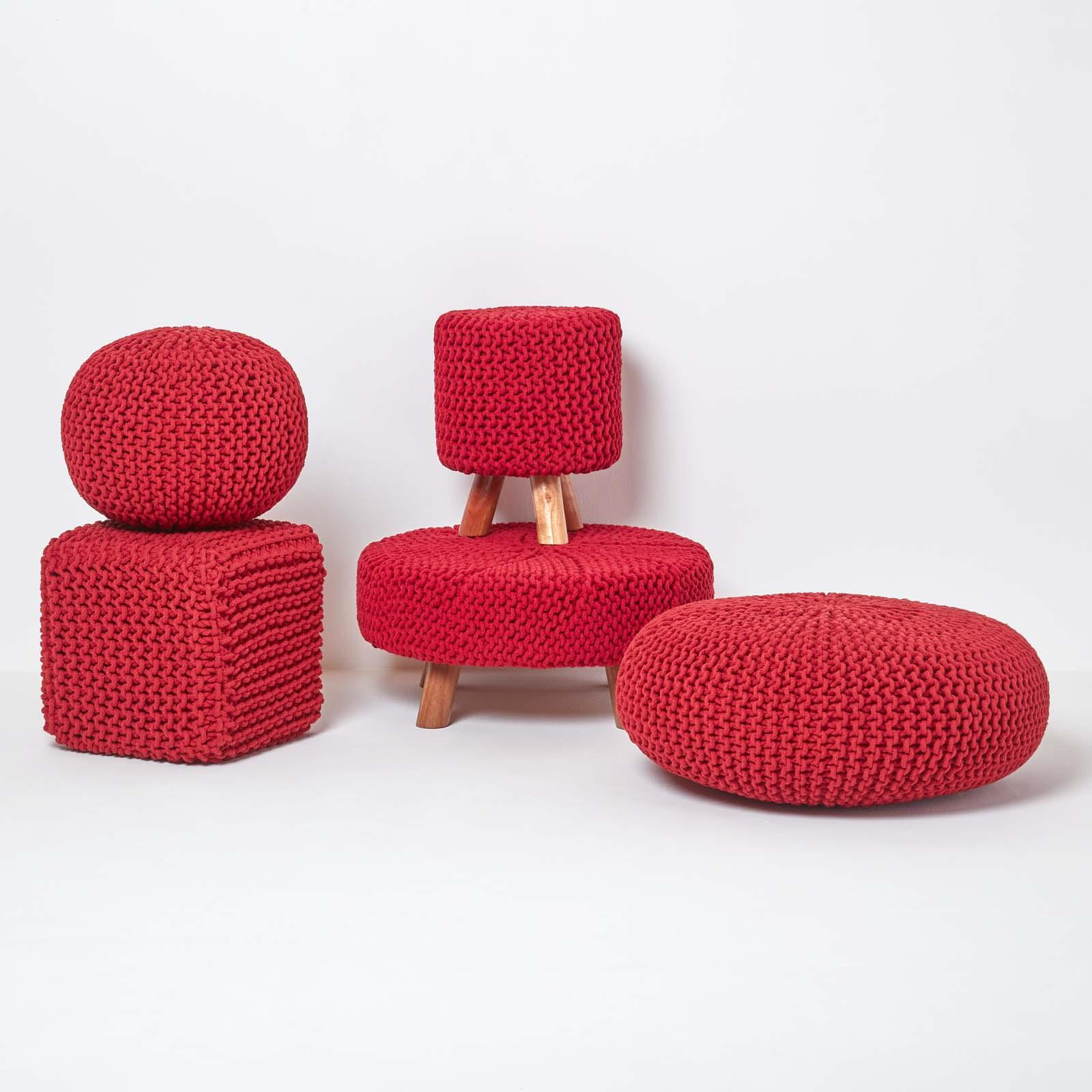 Hand-Knitted-100-Cotton-Pouffes-Round-Sphere-Or-Cube-Square-Chunky-Footstools thumbnail 174