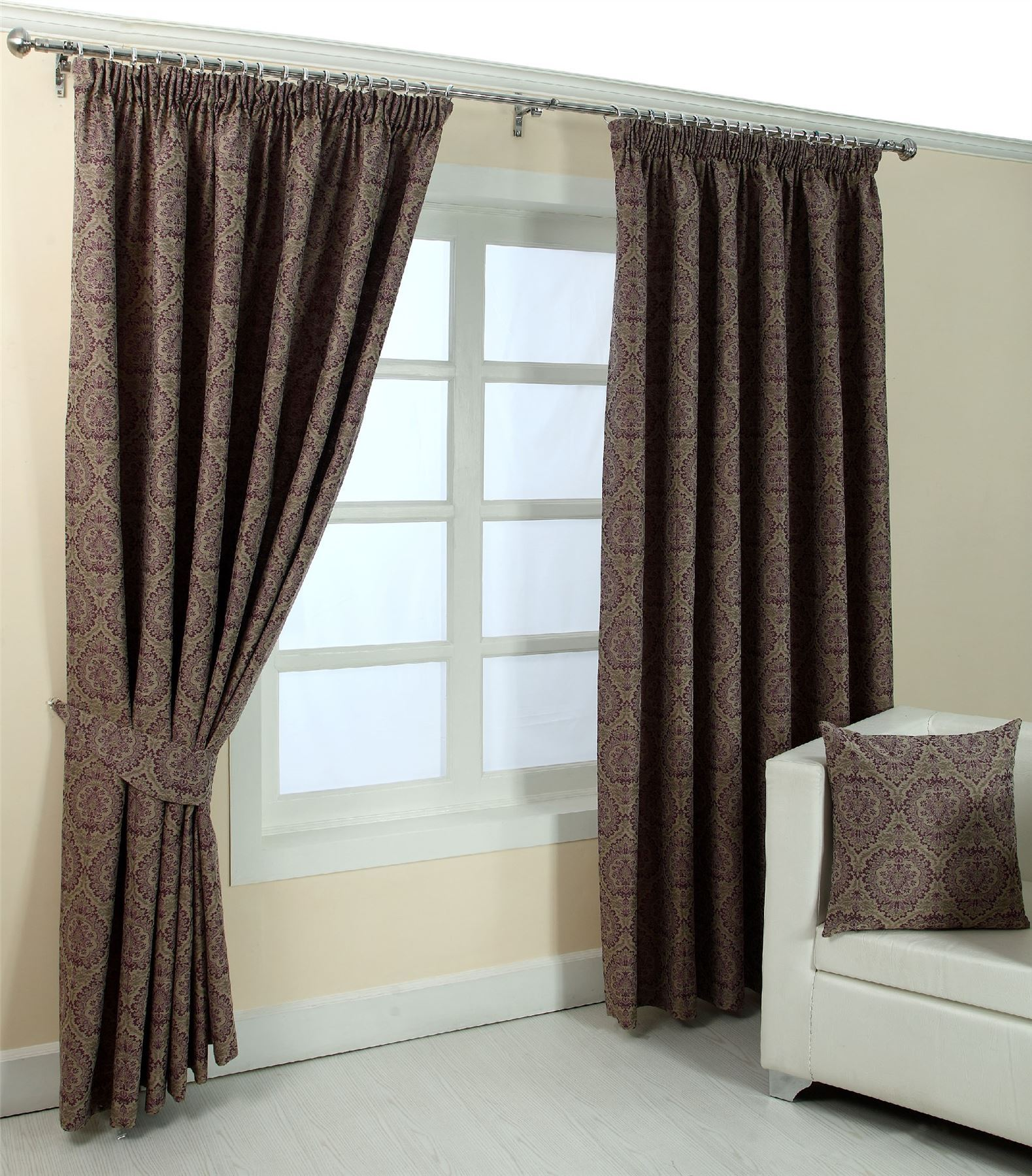 Damask curtains living room - Floral Pencil Pleat Fully Lined Jacquard Damask Curtains