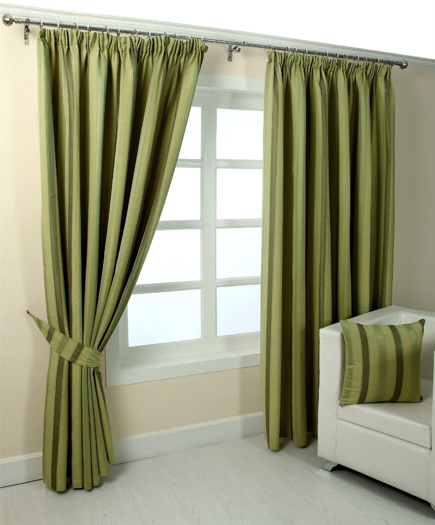 Pencil Pleat Jacquard Striped Curtains Fully Lined Blue Cream Green Purple Ebay