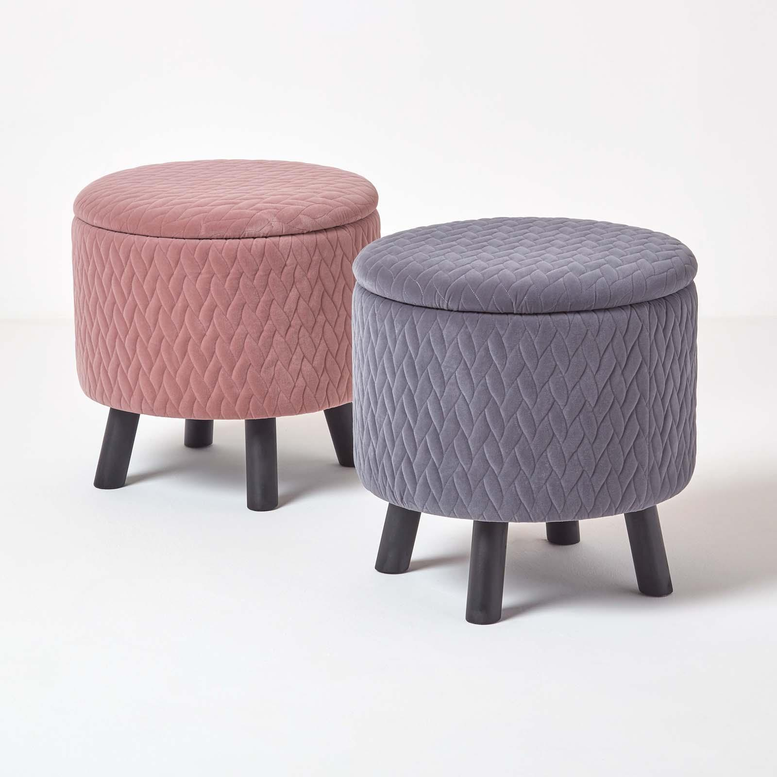 Astounding Details About Balmoral Velvet Quilted Footstool On Legs With Storage Round Ottoman Soft Stool Cjindustries Chair Design For Home Cjindustriesco