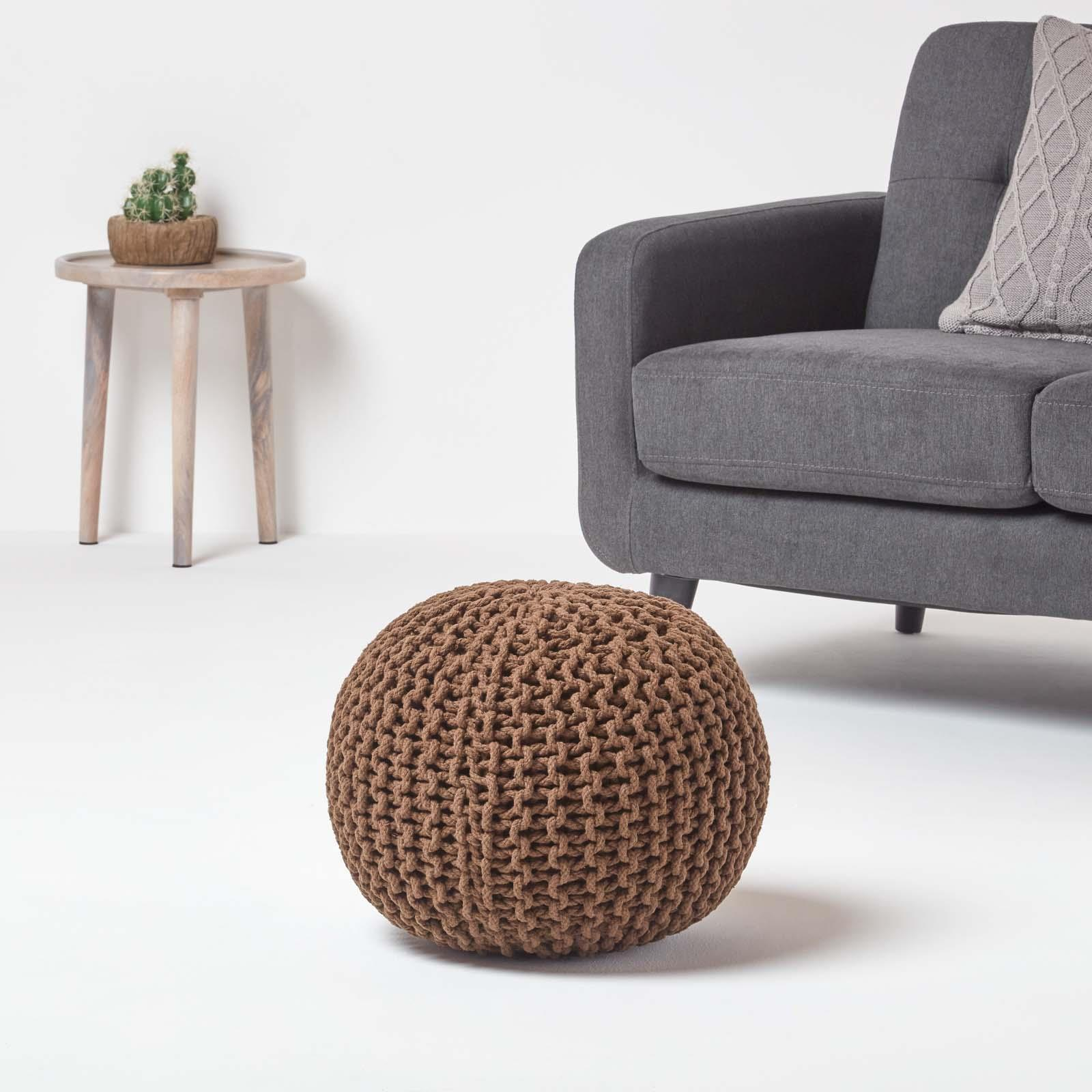 Hand-Knitted-100-Cotton-Pouffes-Round-Sphere-Or-Cube-Square-Chunky-Footstools thumbnail 34