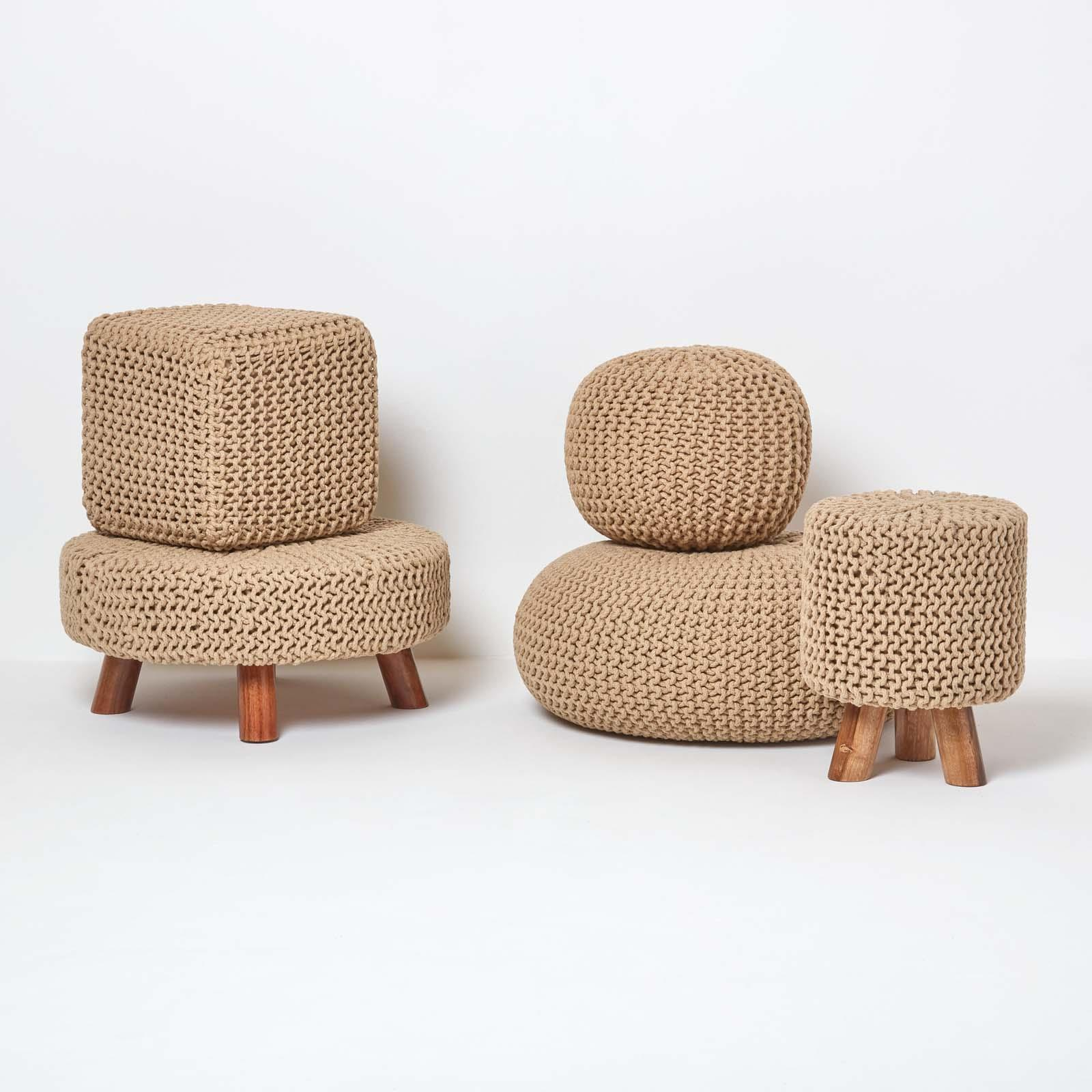 Hand-Knitted-100-Cotton-Pouffes-Round-Sphere-Or-Cube-Square-Chunky-Footstools thumbnail 83