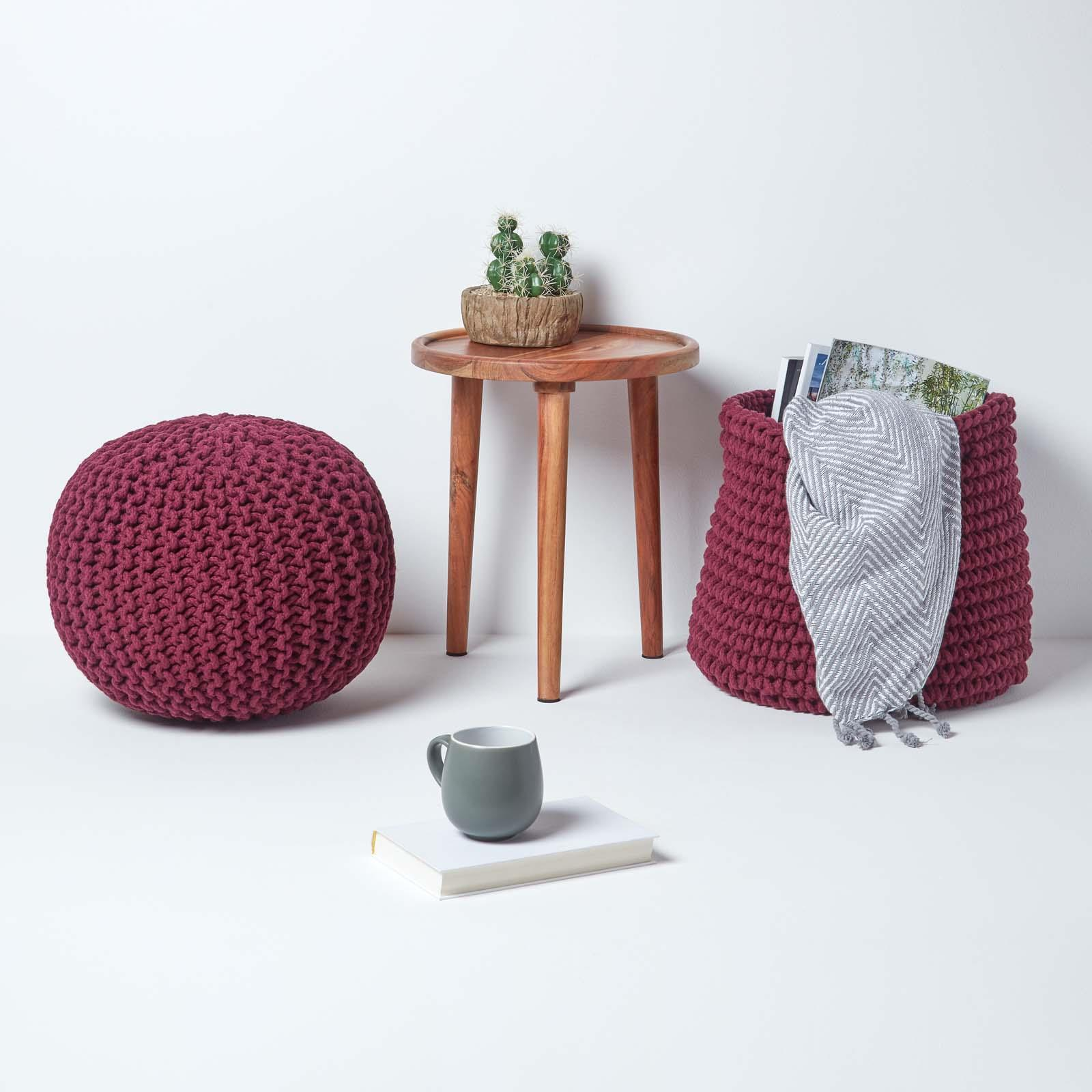 Hand-Knitted-100-Cotton-Pouffes-Round-Sphere-Or-Cube-Square-Chunky-Footstools thumbnail 157