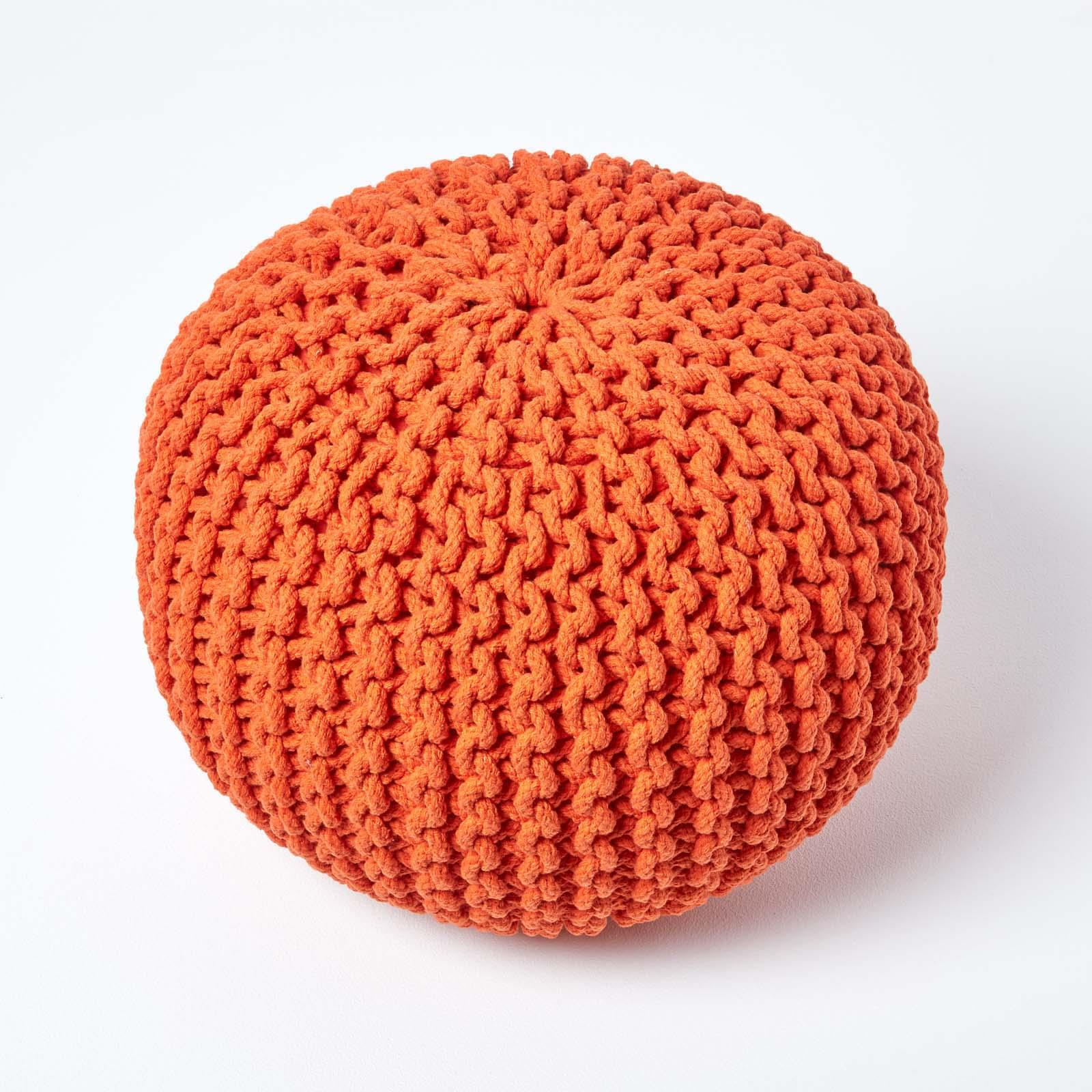 Hand-Knitted-100-Cotton-Pouffes-Round-Sphere-Or-Cube-Square-Chunky-Footstools thumbnail 118