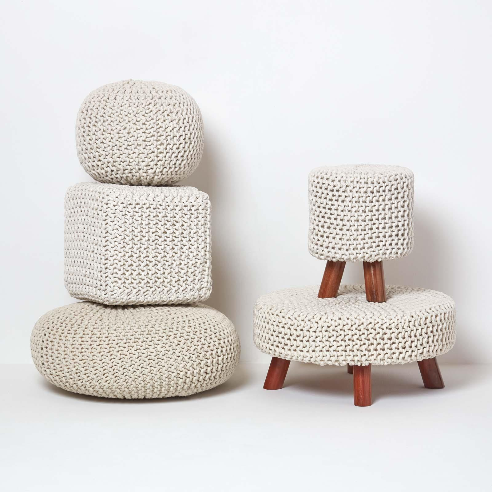 Hand-Knitted-100-Cotton-Pouffes-Round-Sphere-Or-Cube-Square-Chunky-Footstools thumbnail 95
