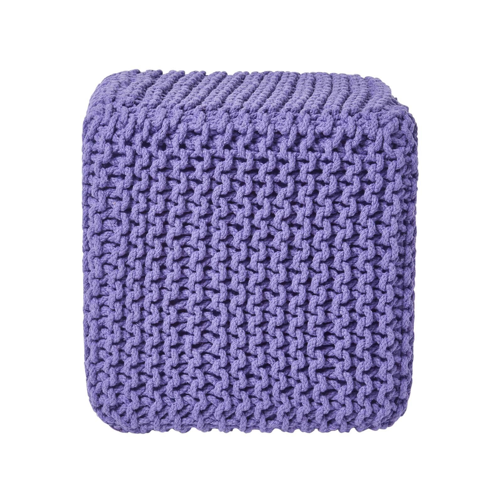 Hand-Knitted-100-Cotton-Pouffes-Round-Sphere-Or-Cube-Square-Chunky-Footstools thumbnail 164