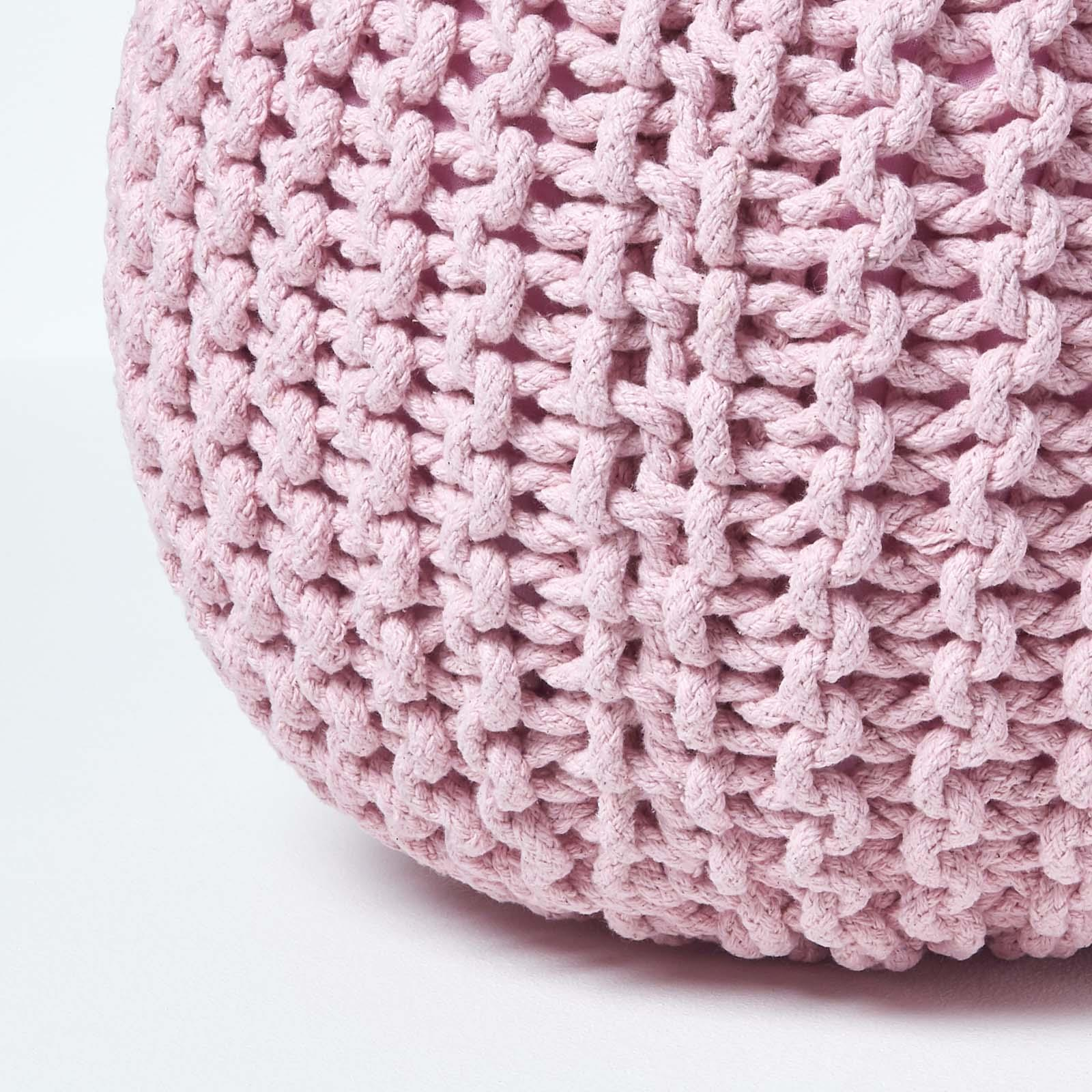 Hand-Knitted-100-Cotton-Pouffes-Round-Sphere-Or-Cube-Square-Chunky-Footstools thumbnail 143