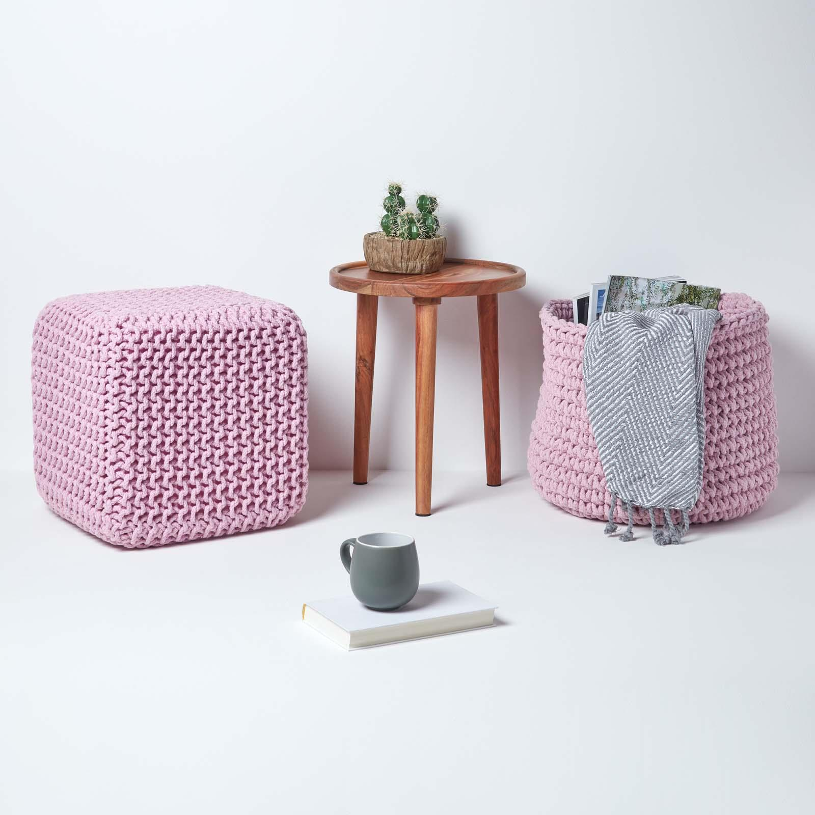 Hand-Knitted-100-Cotton-Pouffes-Round-Sphere-Or-Cube-Square-Chunky-Footstools thumbnail 150