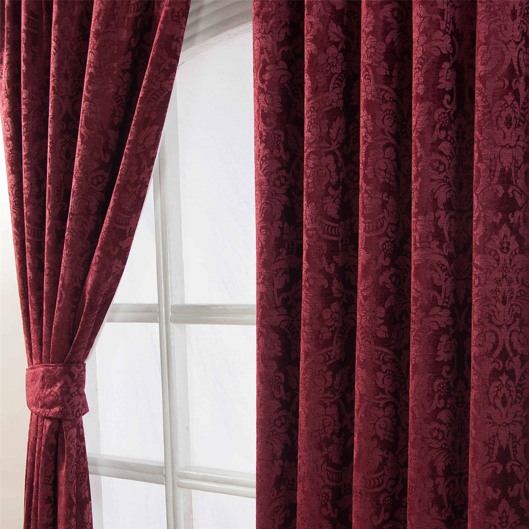 Velvet Jacquard Pencil Pleat Lined Ready Made Curtains Pair Grey - Ready made curtains red