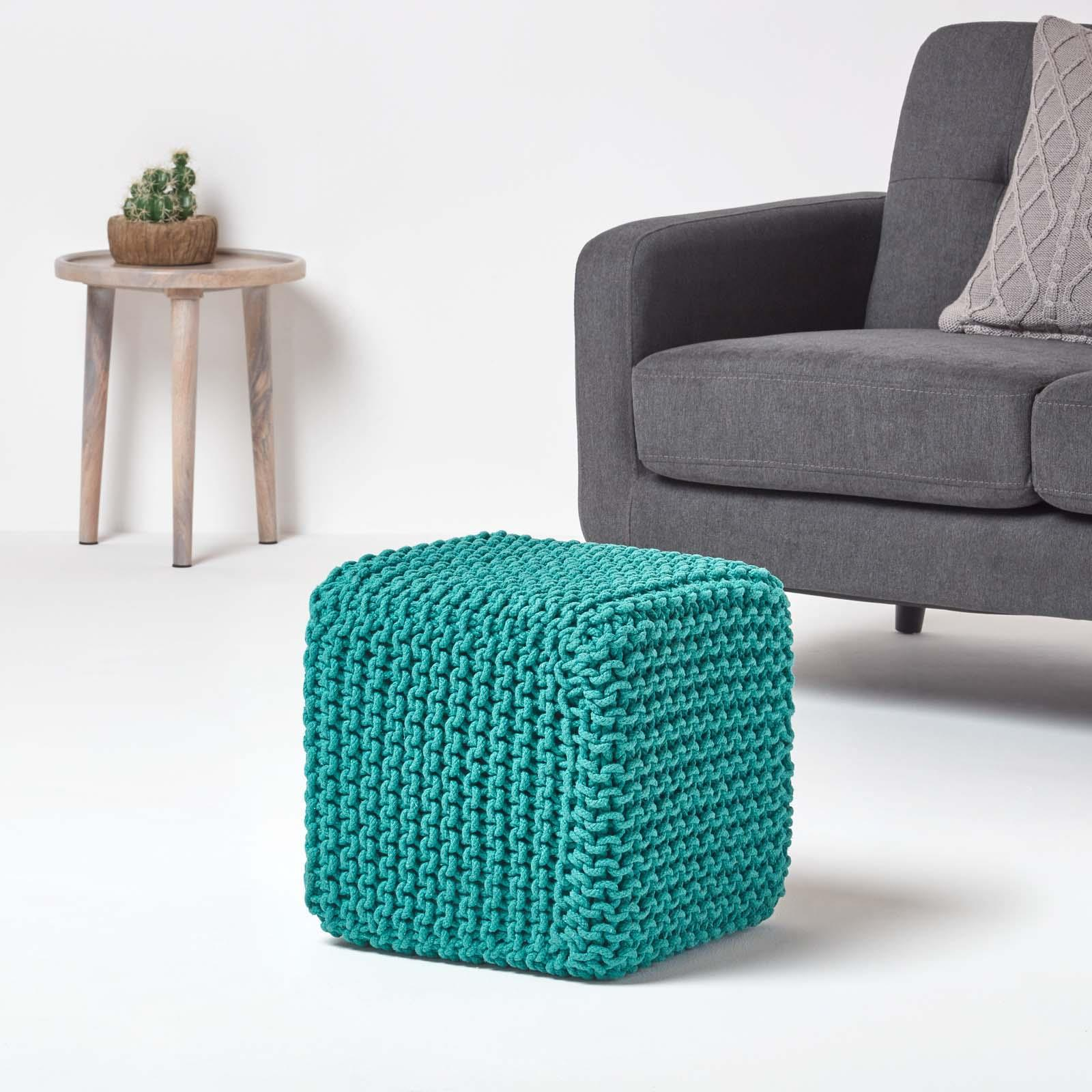 Hand-Knitted-100-Cotton-Pouffes-Round-Sphere-Or-Cube-Square-Chunky-Footstools thumbnail 199