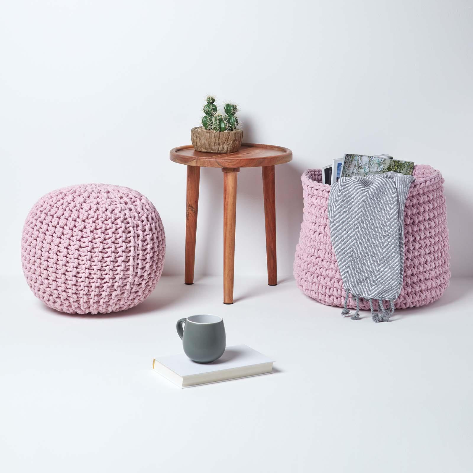 Hand-Knitted-100-Cotton-Pouffes-Round-Sphere-Or-Cube-Square-Chunky-Footstools thumbnail 145