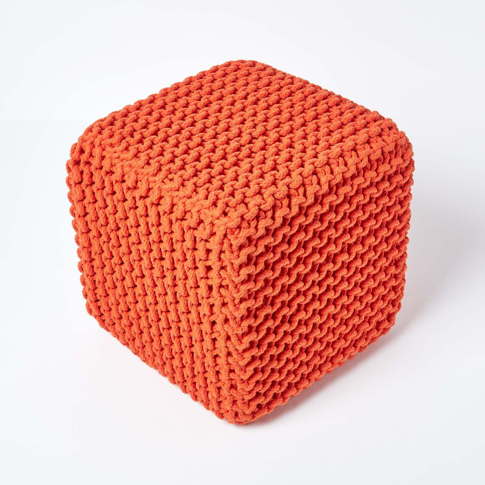 Hand-Knitted-100-Cotton-Pouffes-Round-Sphere-Or-Cube-Square-Chunky-Footstools thumbnail 123